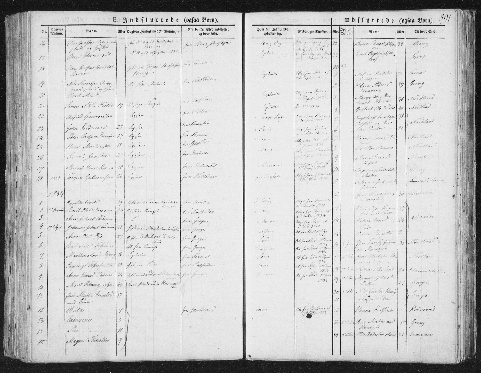 SAT, Ministerialprotokoller, klokkerbøker og fødselsregistre - Nord-Trøndelag, 764/L0552: Ministerialbok nr. 764A07b, 1824-1865, s. 591