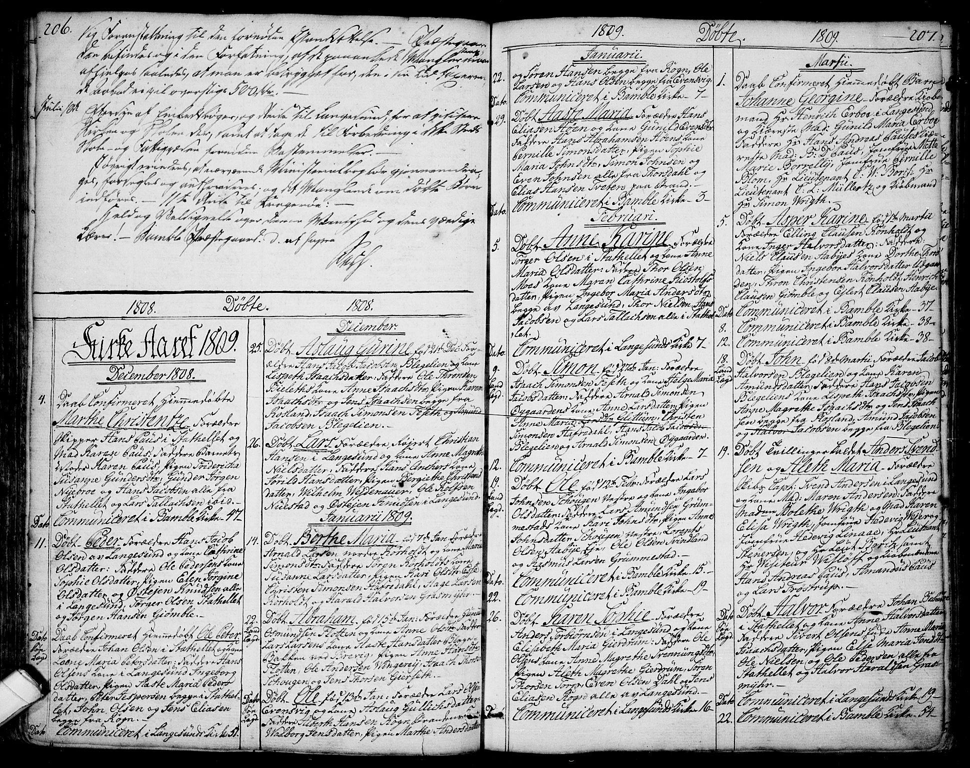 SAKO, Bamble kirkebøker, F/Fa/L0002: Ministerialbok nr. I 2, 1775-1814, s. 206-207