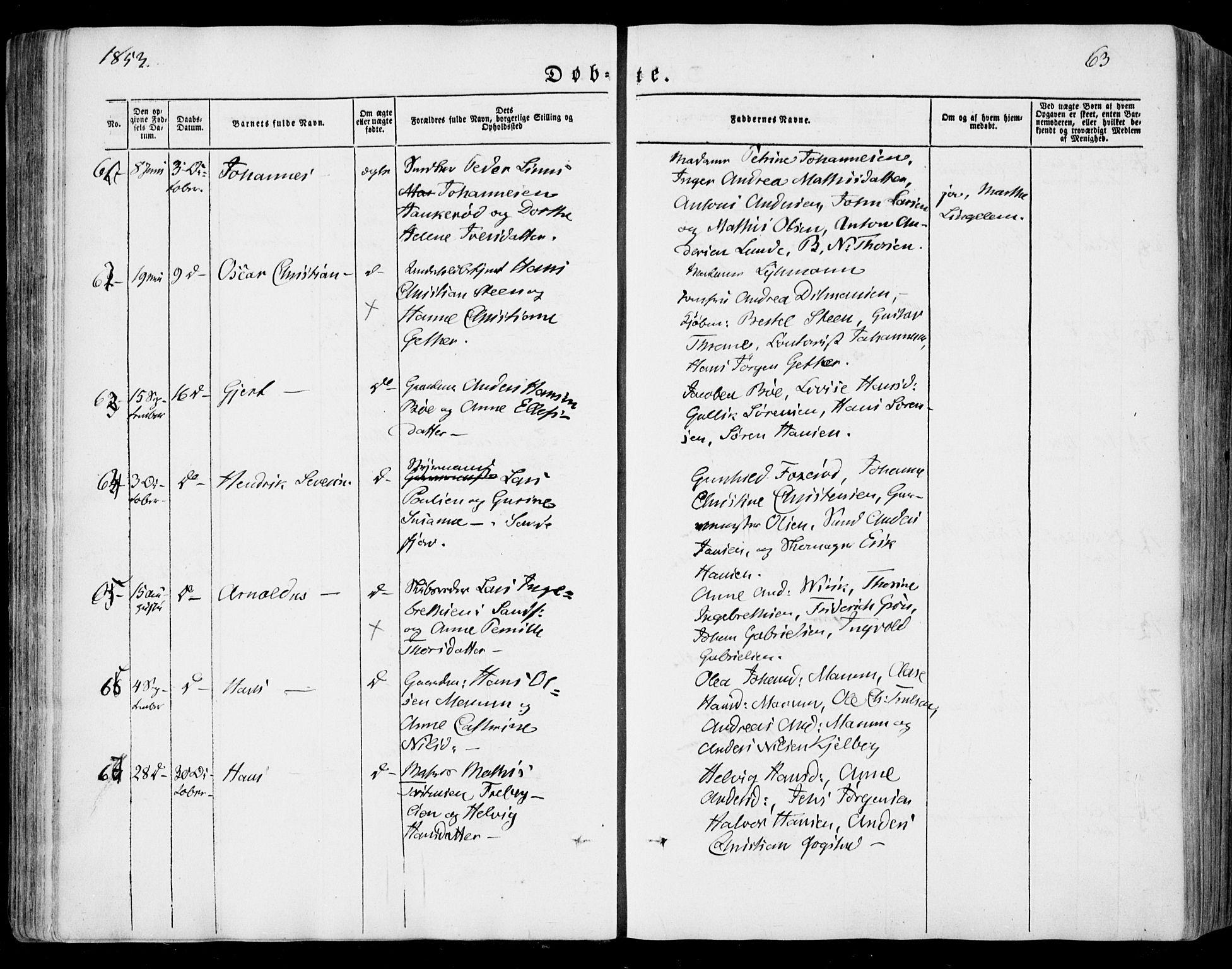 SAKO, Sandar kirkebøker, F/Fa/L0006: Ministerialbok nr. 6, 1847-1860, s. 63