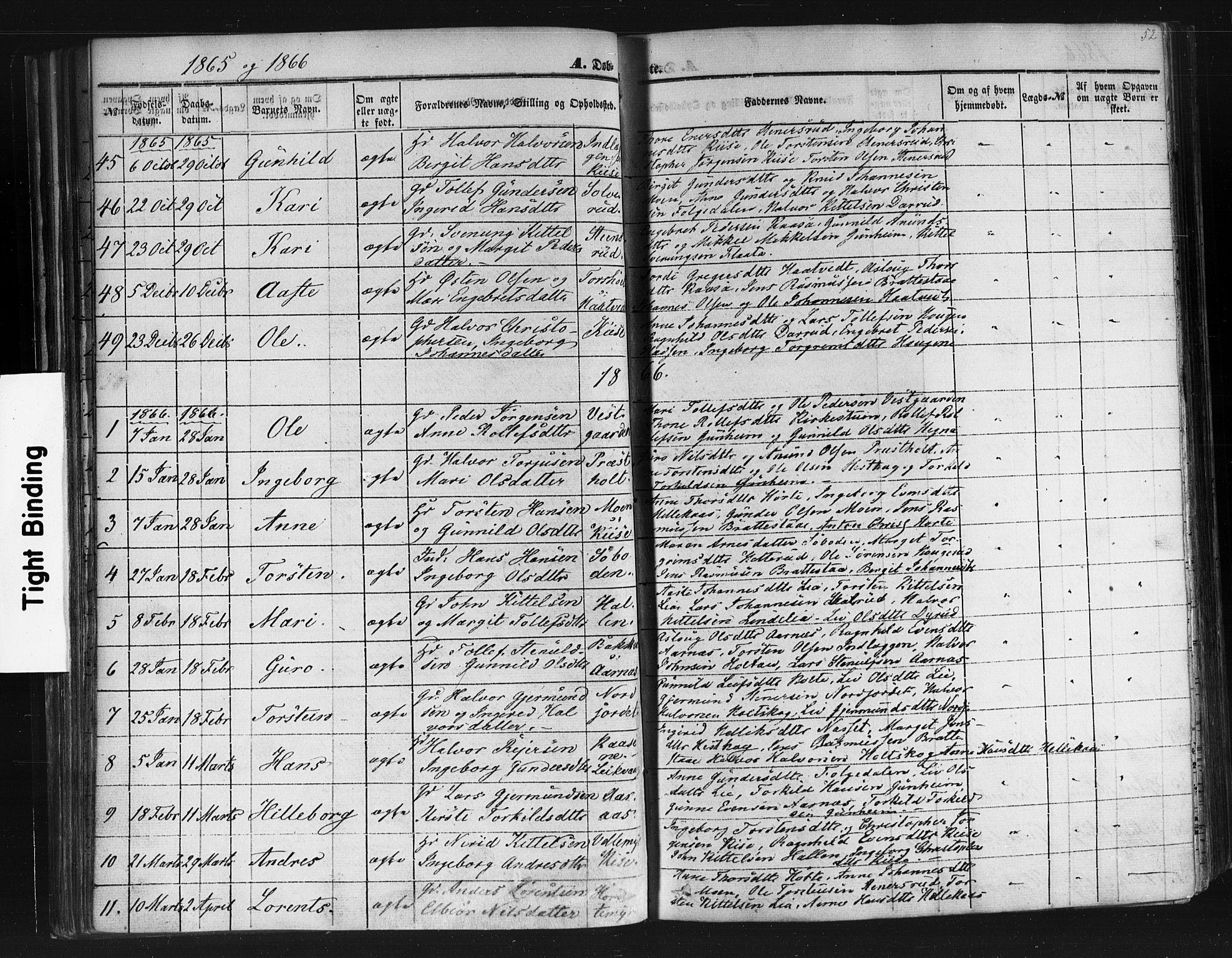 SAKO, Sauherad kirkebøker, F/Fb/L0001: Ministerialbok nr. II 1, 1851-1877, s. 52