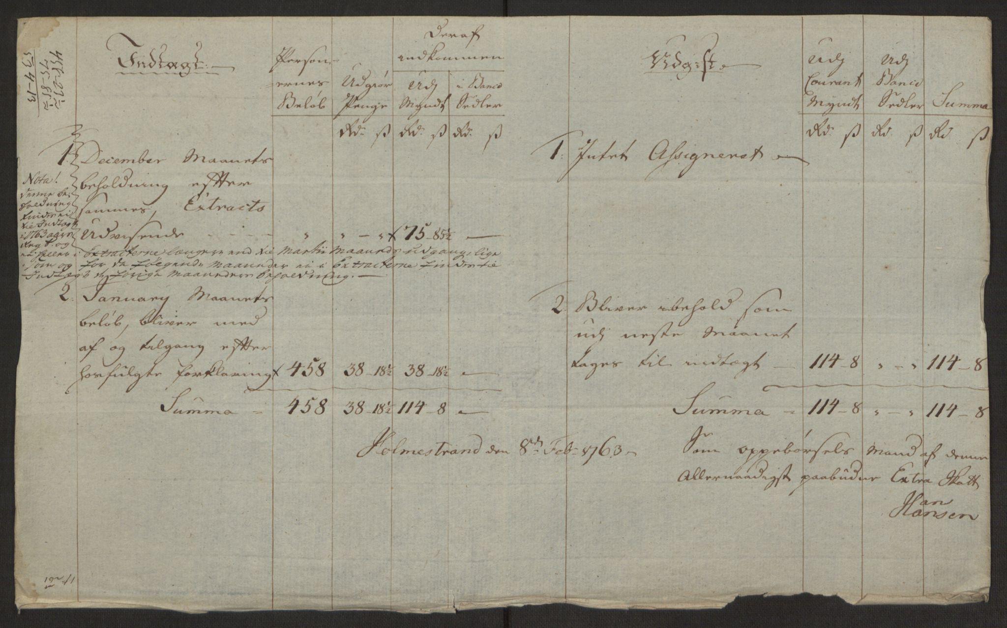 RA, Rentekammeret inntil 1814, Reviderte regnskaper, Byregnskaper, R/Rh/L0163: [H4] Kontribusjonsregnskap, 1762-1772, s. 39