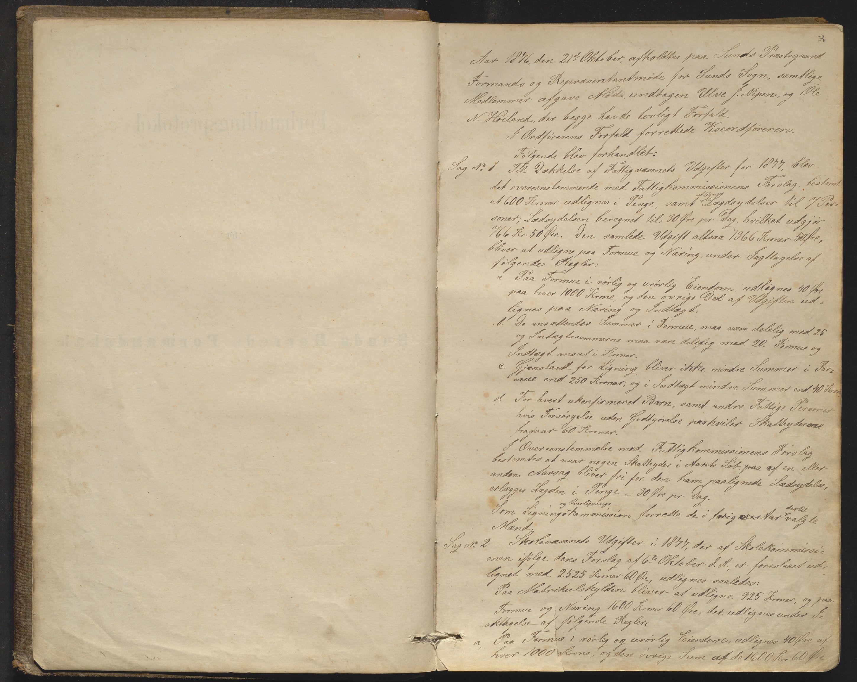 IKAH, Sund kommune. Formannskapet, A/Aa/L0002: Møtebok for Sund formannskap og heradstyre , 1876-1911, s. 3