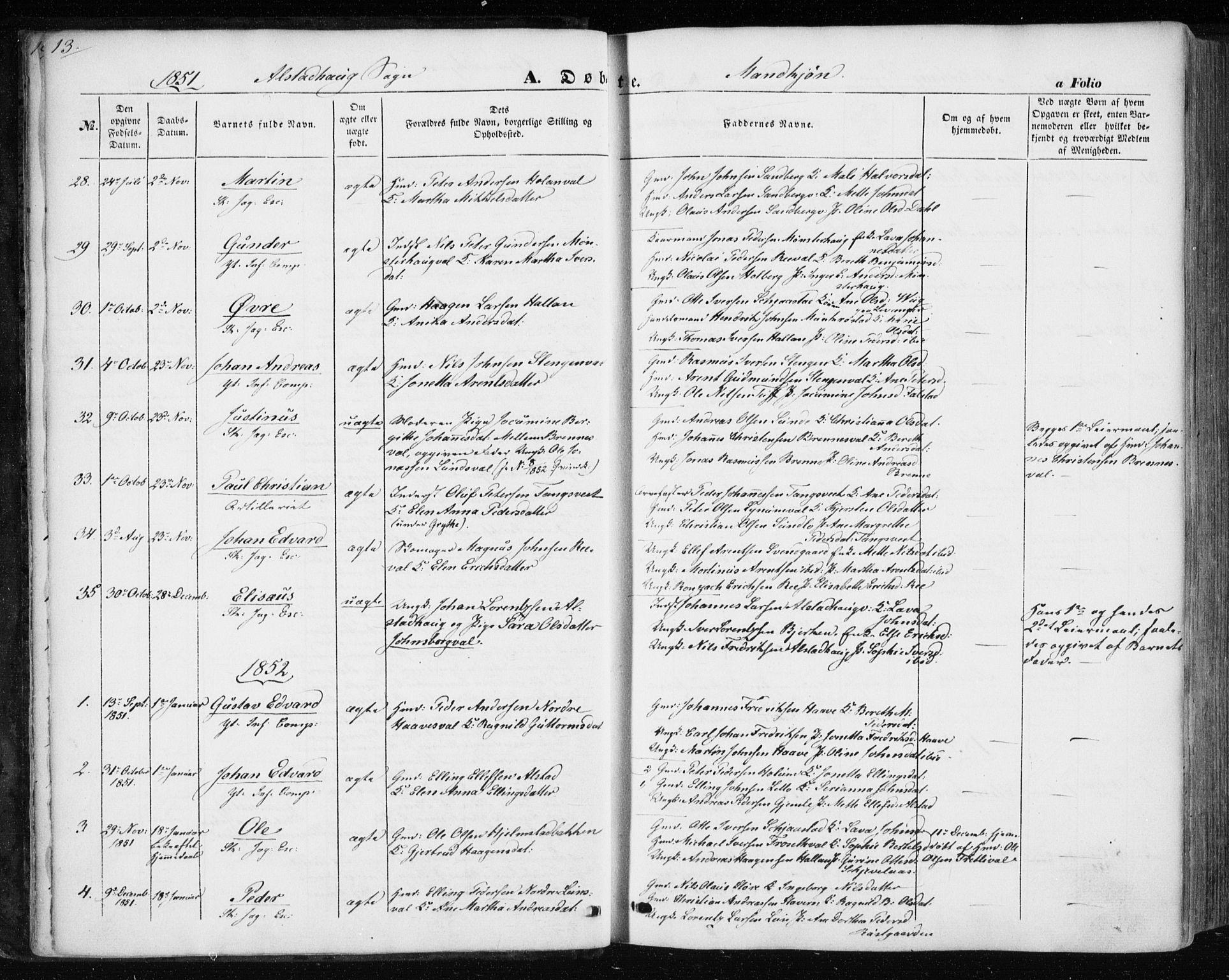 SAT, Ministerialprotokoller, klokkerbøker og fødselsregistre - Nord-Trøndelag, 717/L0154: Ministerialbok nr. 717A07 /1, 1850-1862, s. 13