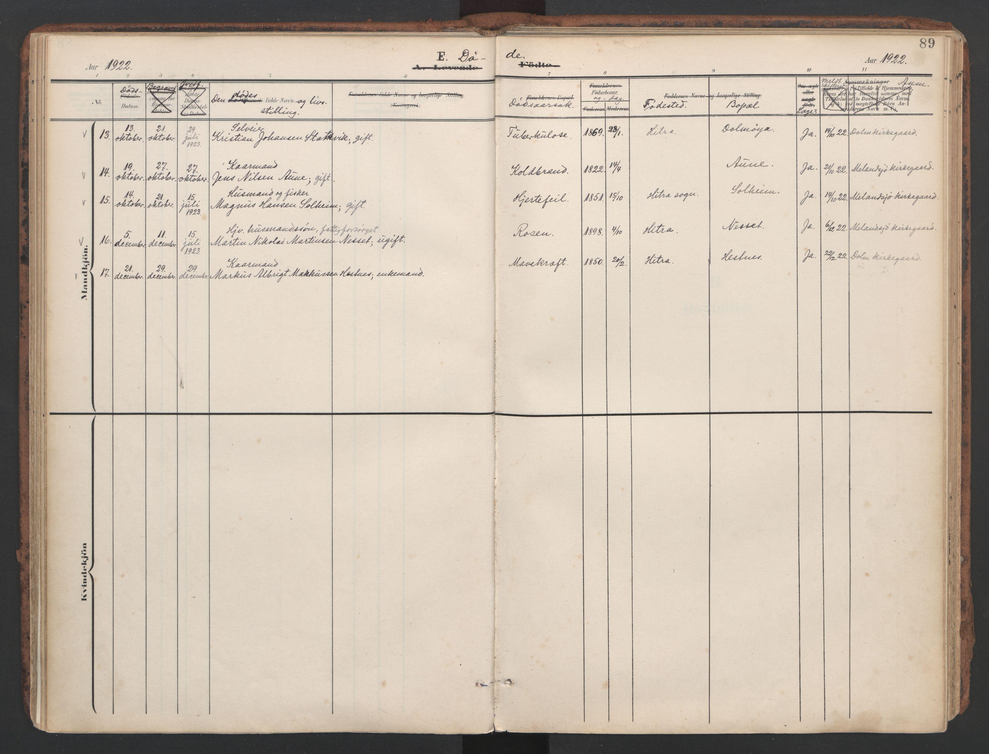SAT, Ministerialprotokoller, klokkerbøker og fødselsregistre - Sør-Trøndelag, 634/L0537: Ministerialbok nr. 634A13, 1896-1922, s. 89