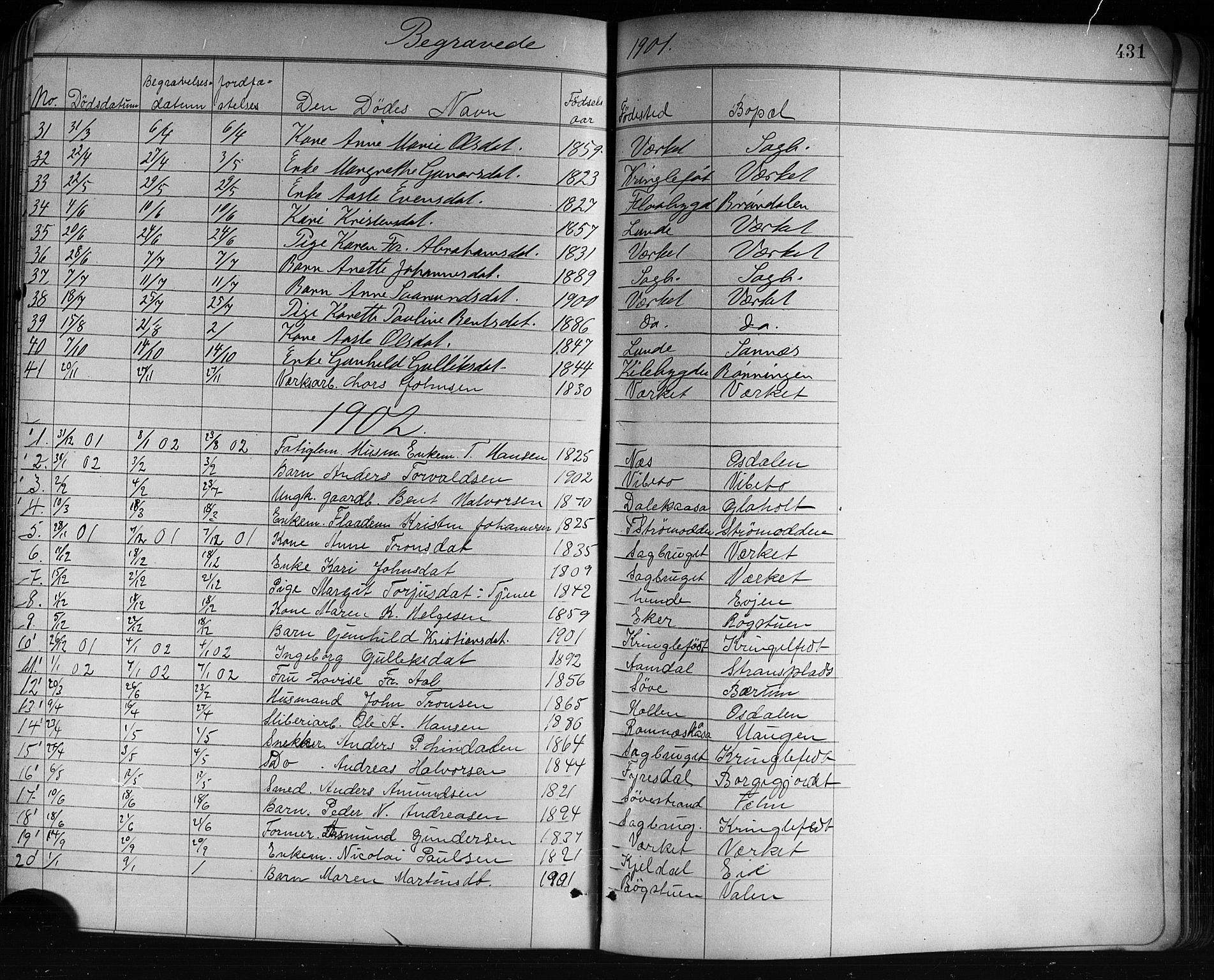 SAKO, Holla kirkebøker, G/Ga/L0005: Klokkerbok nr. I 5, 1891-1917, s. 431
