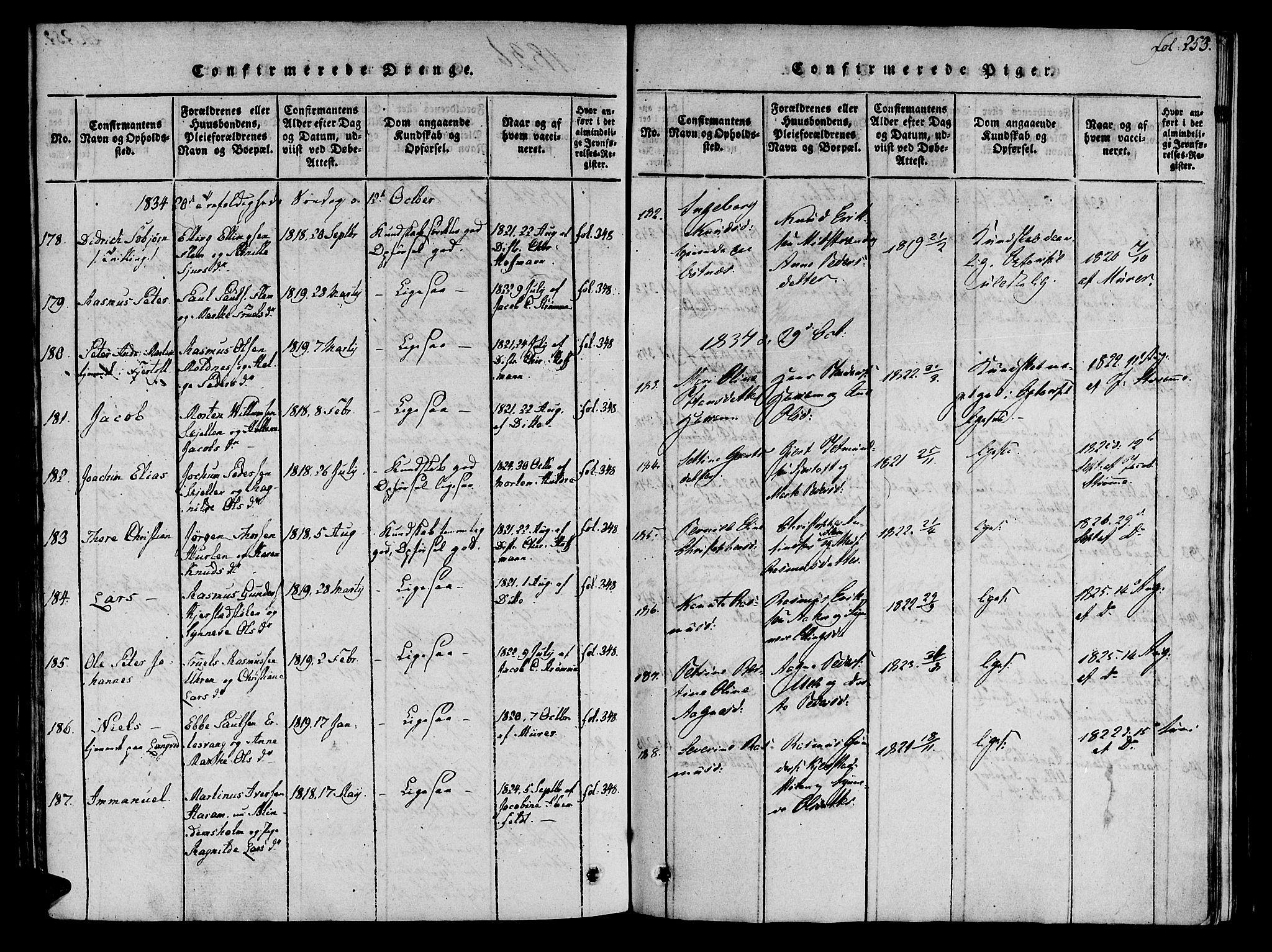 SAT, Ministerialprotokoller, klokkerbøker og fødselsregistre - Møre og Romsdal, 536/L0495: Ministerialbok nr. 536A04, 1818-1847, s. 253