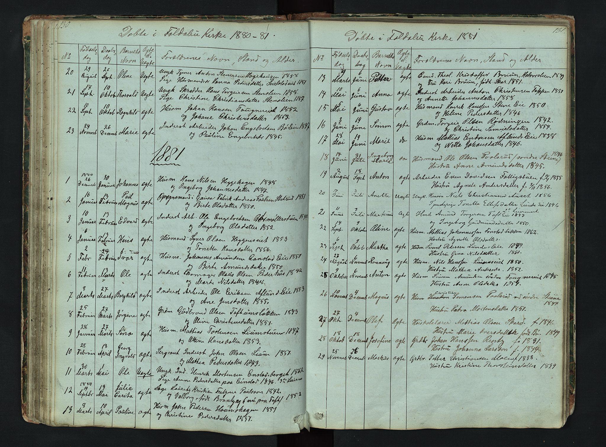 SAH, Gausdal prestekontor, Klokkerbok nr. 6, 1846-1893, s. 130-131