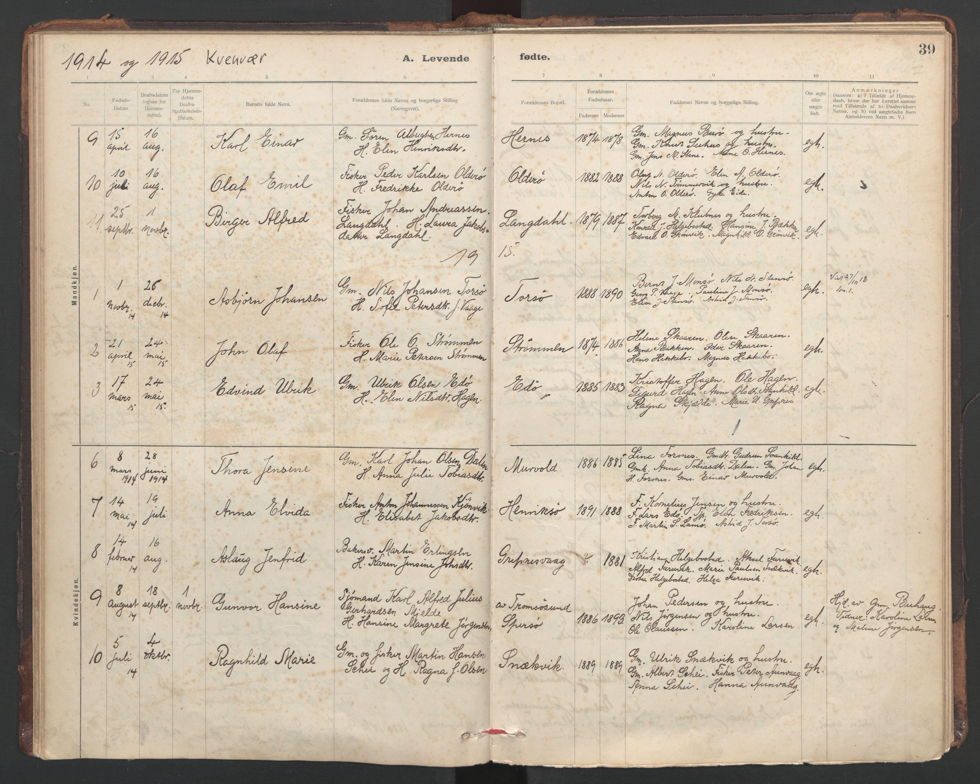SAT, Ministerialprotokoller, klokkerbøker og fødselsregistre - Sør-Trøndelag, 635/L0552: Ministerialbok nr. 635A02, 1899-1919, s. 39