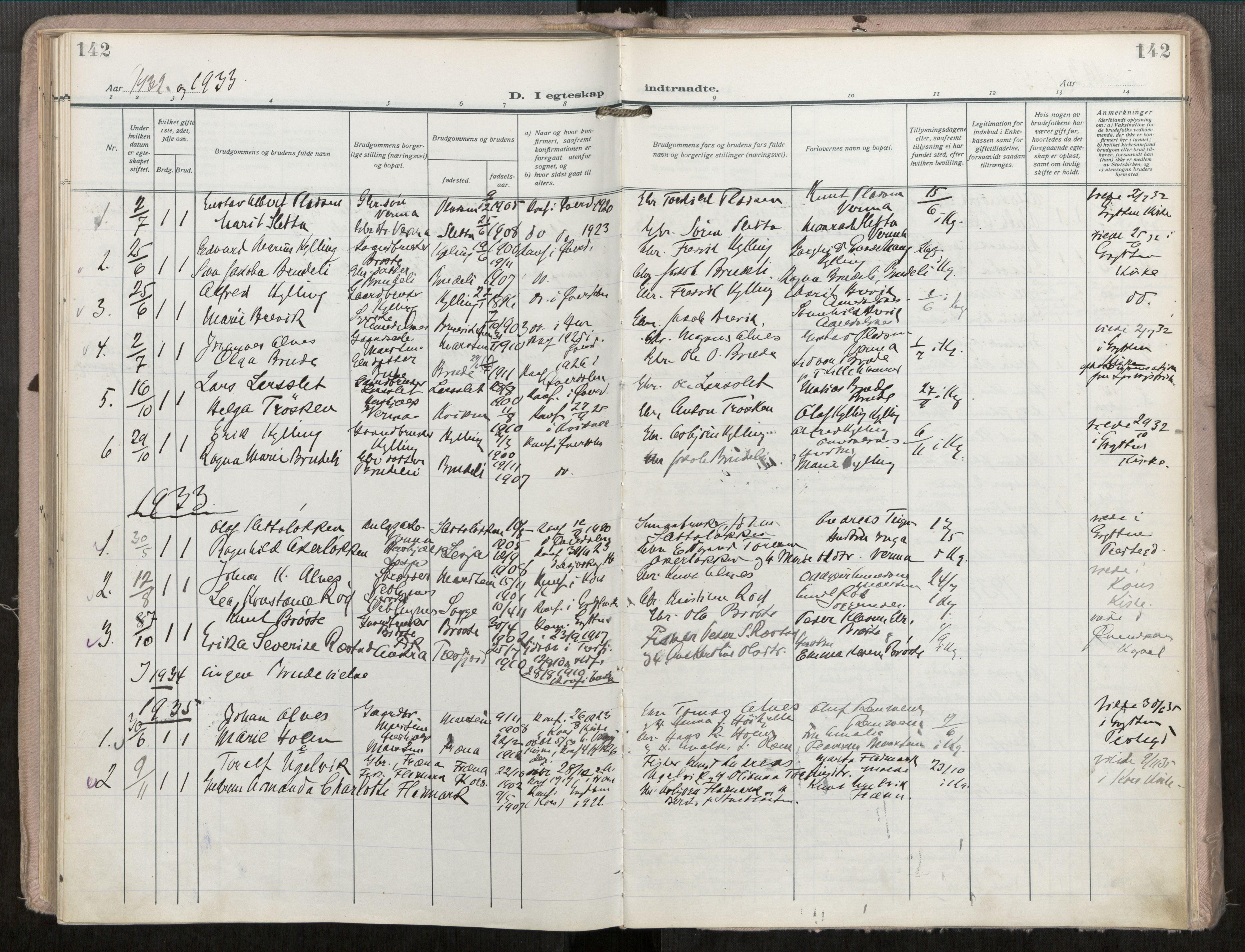 SAT, Grytten sokneprestkontor, Ministerialbok nr. 546A04, 1919-1956, s. 142