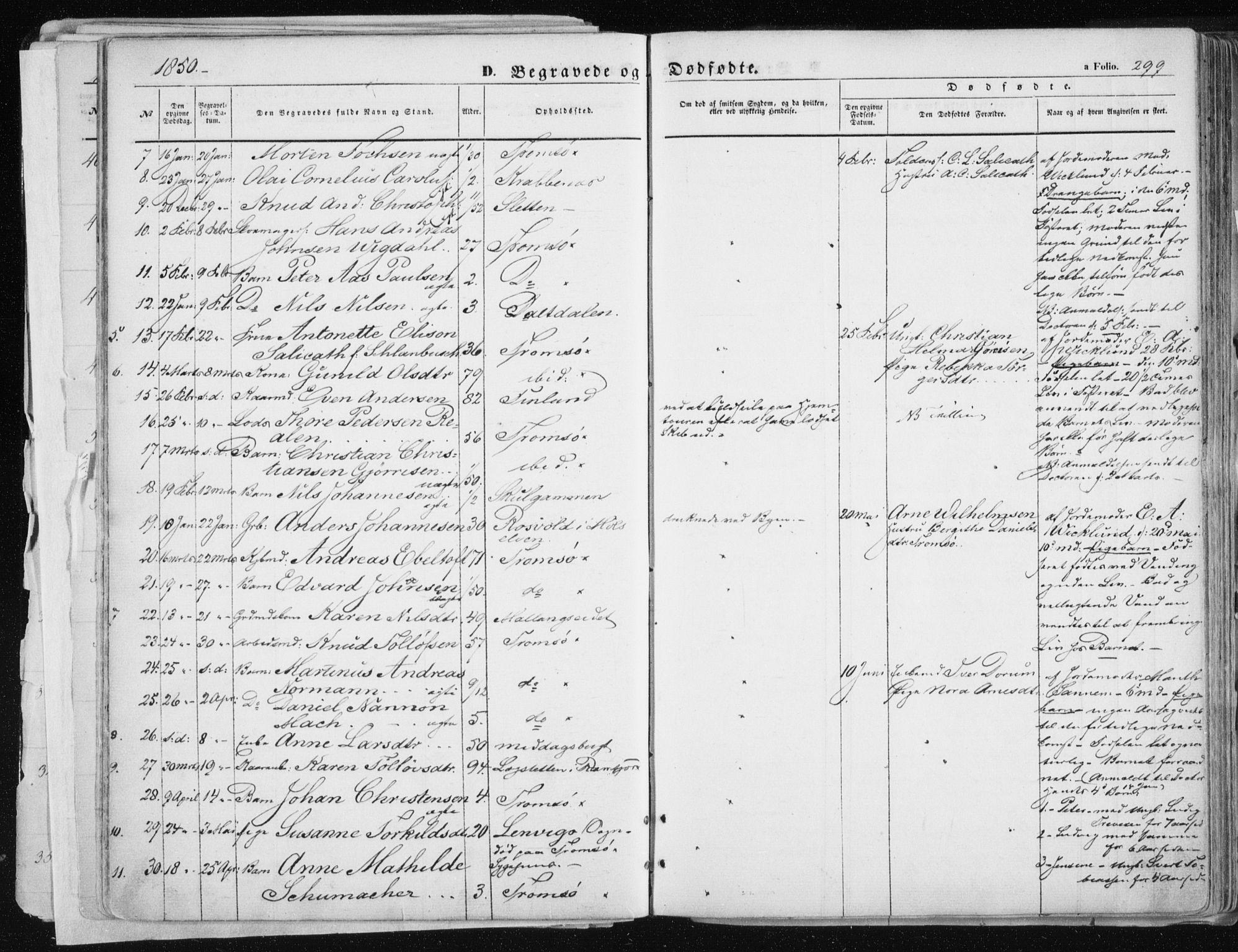 SATØ, Tromsø sokneprestkontor/stiftsprosti/domprosti, G/Ga/L0010kirke: Ministerialbok nr. 10, 1848-1855, s. 299