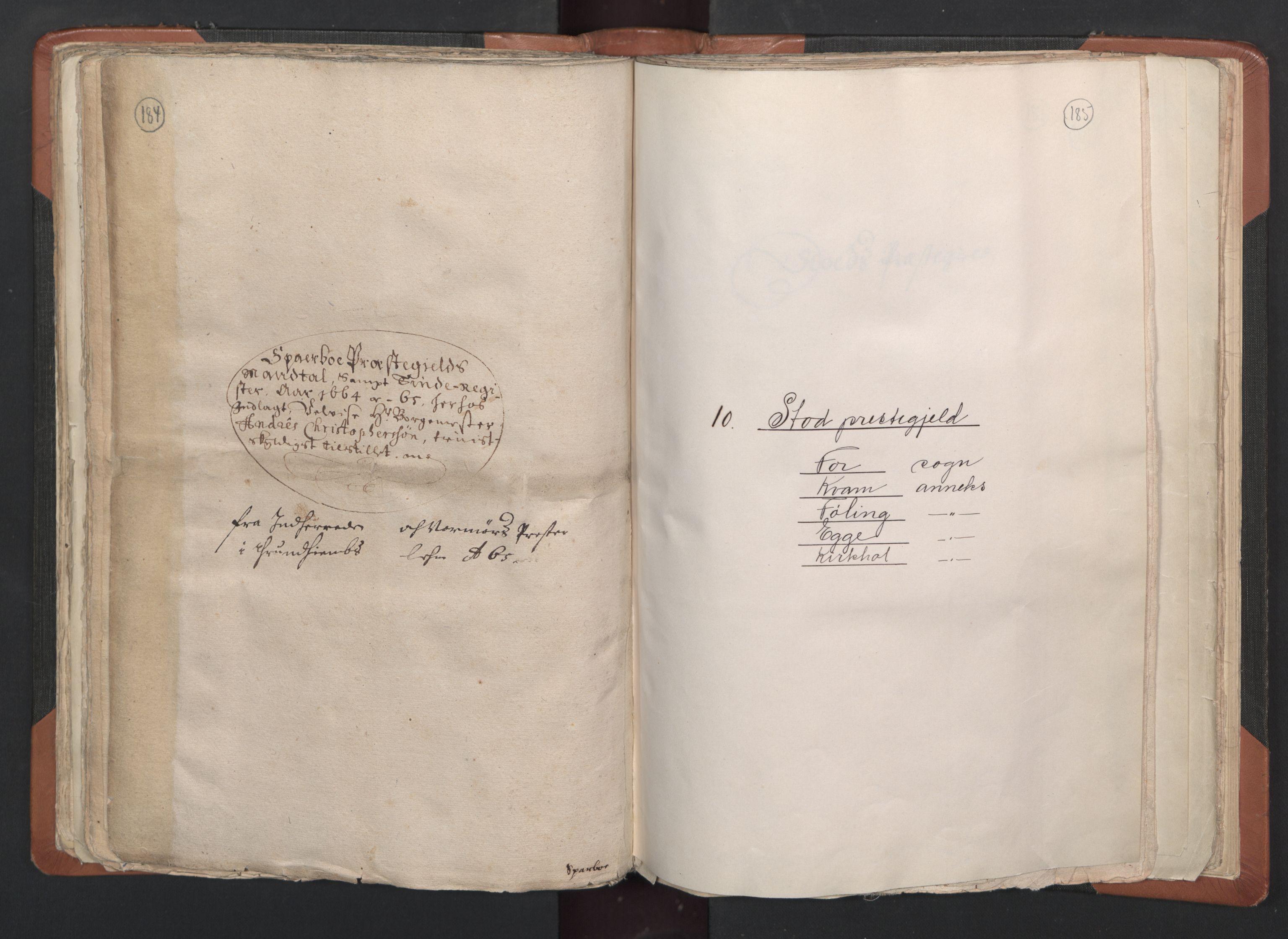 RA, Sogneprestenes manntall 1664-1666, nr. 33: Innherad prosti, 1664-1666, s. 184-185