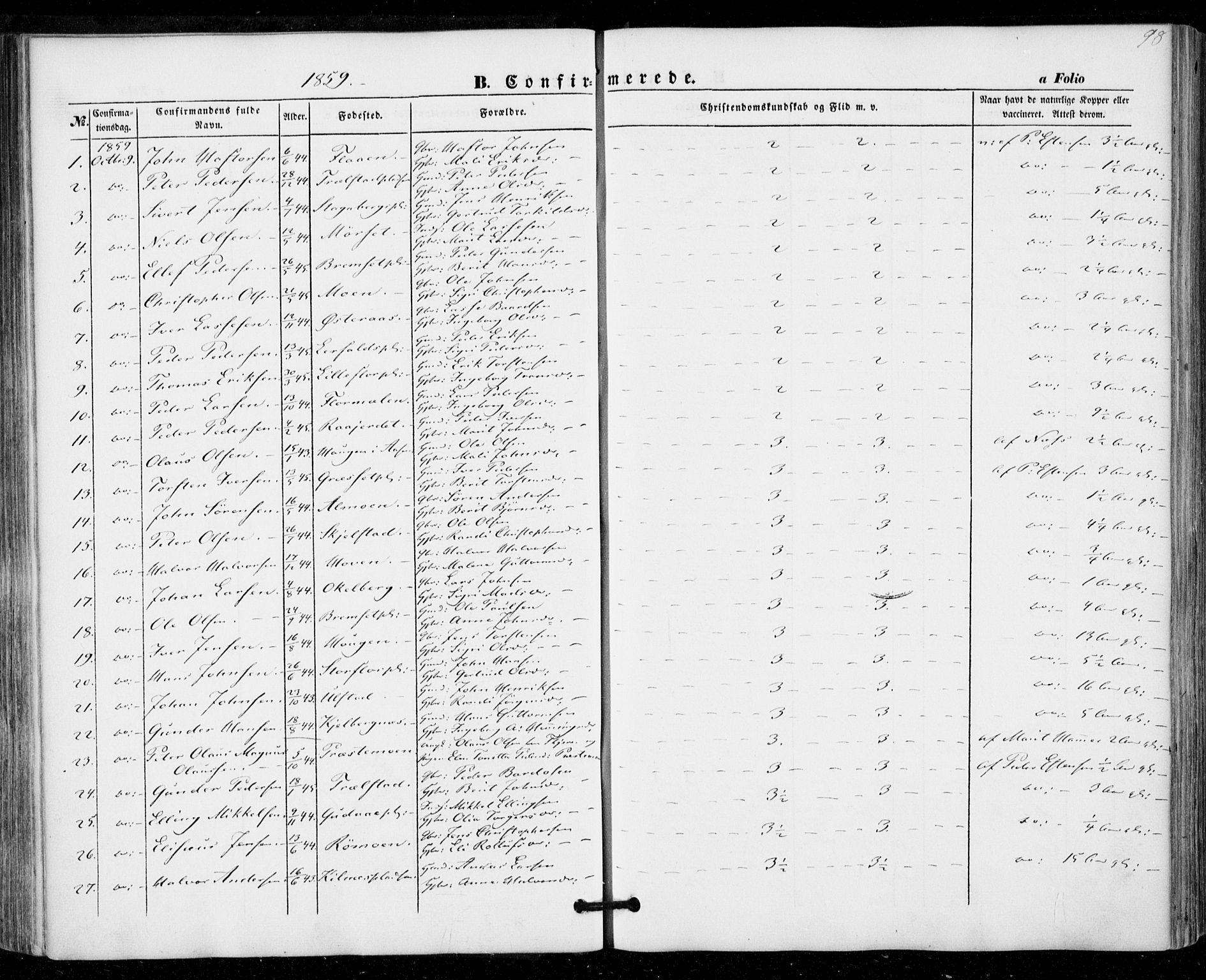 SAT, Ministerialprotokoller, klokkerbøker og fødselsregistre - Nord-Trøndelag, 703/L0028: Ministerialbok nr. 703A01, 1850-1862, s. 98