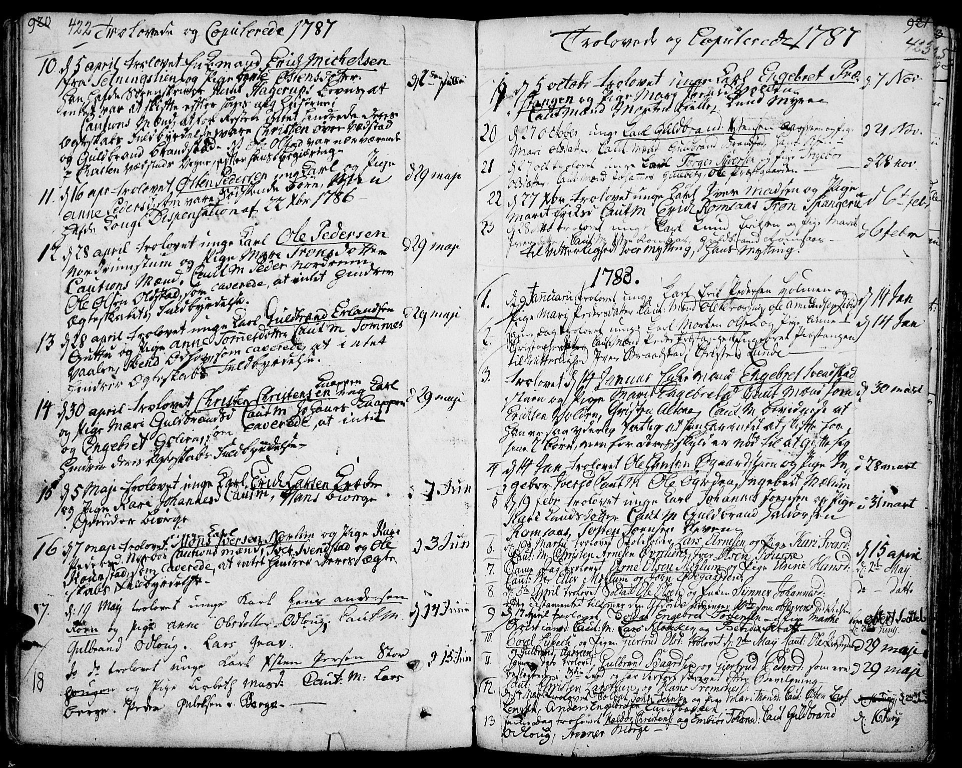SAH, Ringebu prestekontor, Ministerialbok nr. 3, 1781-1820, s. 422-423