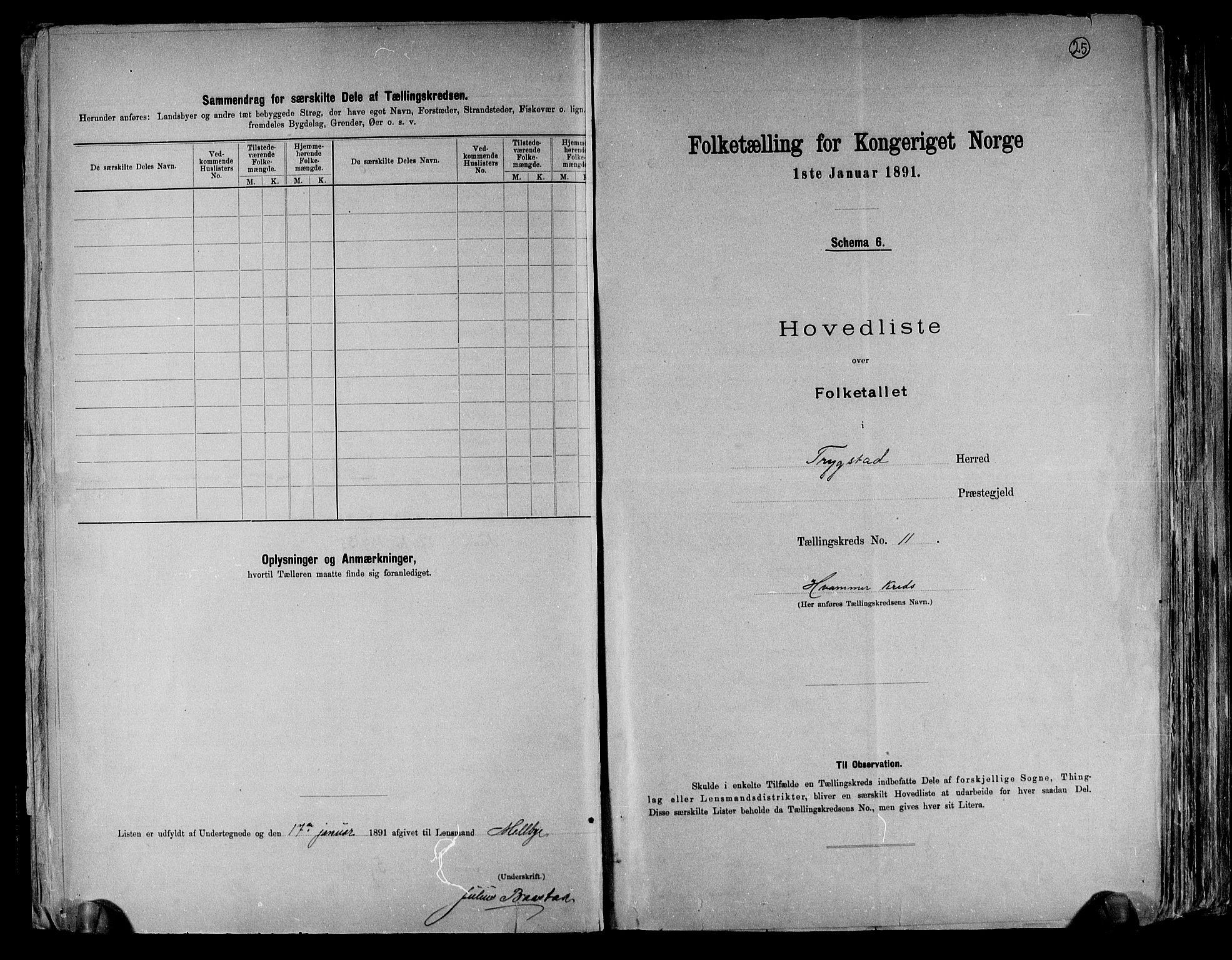 RA, Folketelling 1891 for 0122 Trøgstad herred, 1891, s. 25