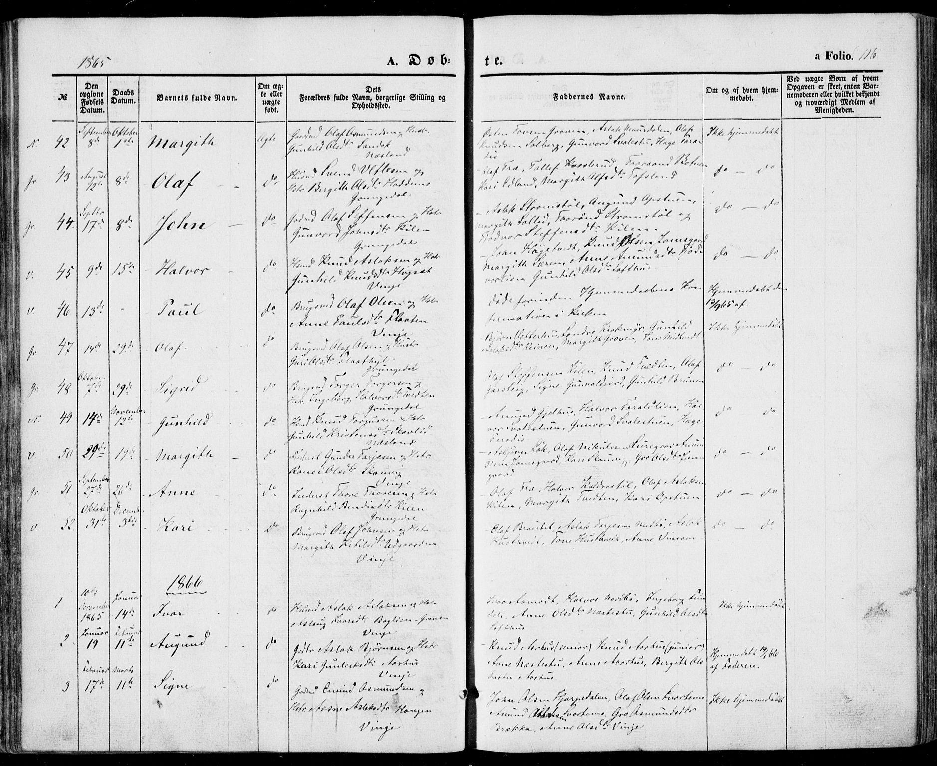 SAKO, Vinje kirkebøker, F/Fa/L0004: Ministerialbok nr. I 4, 1843-1869, s. 116