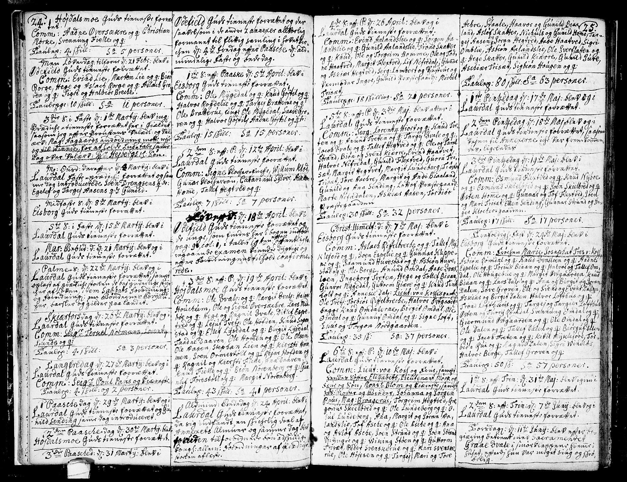 SAKO, Lårdal kirkebøker, F/Fa/L0002: Ministerialbok nr. I 2, 1734-1754, s. 24-25