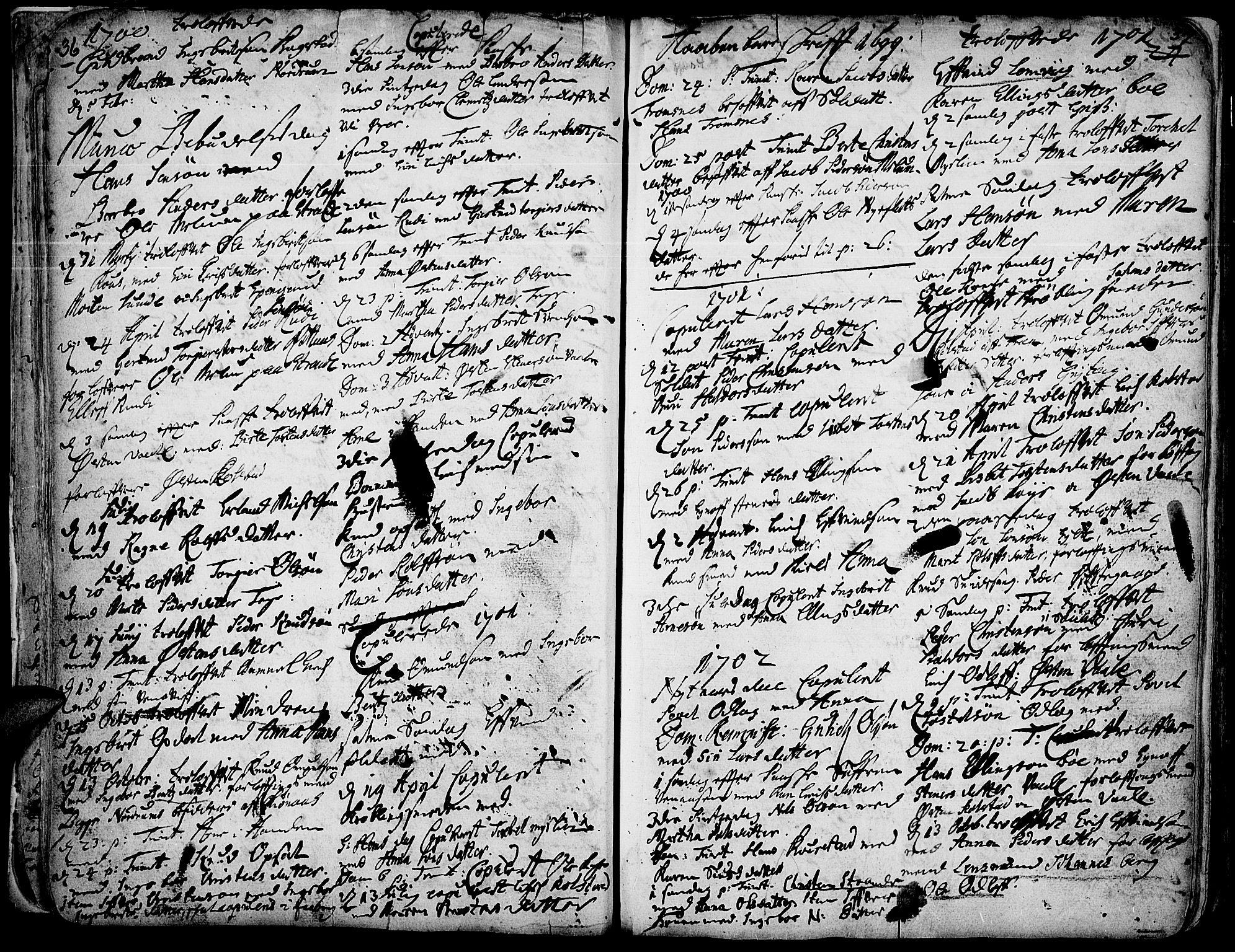 SAH, Ringebu prestekontor, Ministerialbok nr. 1, 1696-1733, s. 36-37