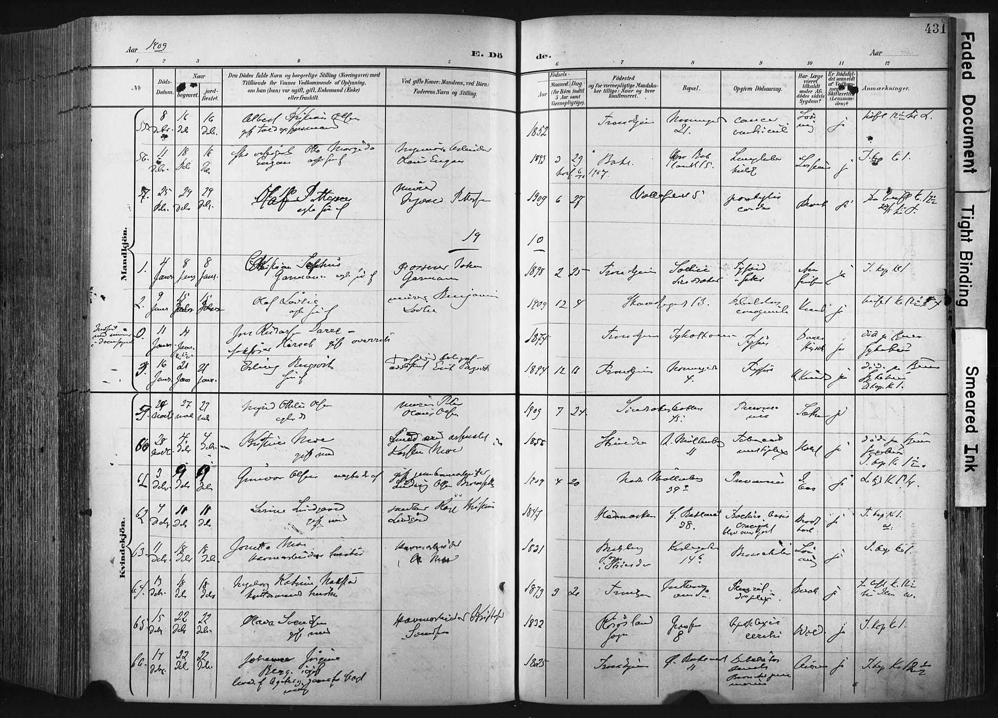 SAT, Ministerialprotokoller, klokkerbøker og fødselsregistre - Sør-Trøndelag, 604/L0201: Ministerialbok nr. 604A21, 1901-1911, s. 431