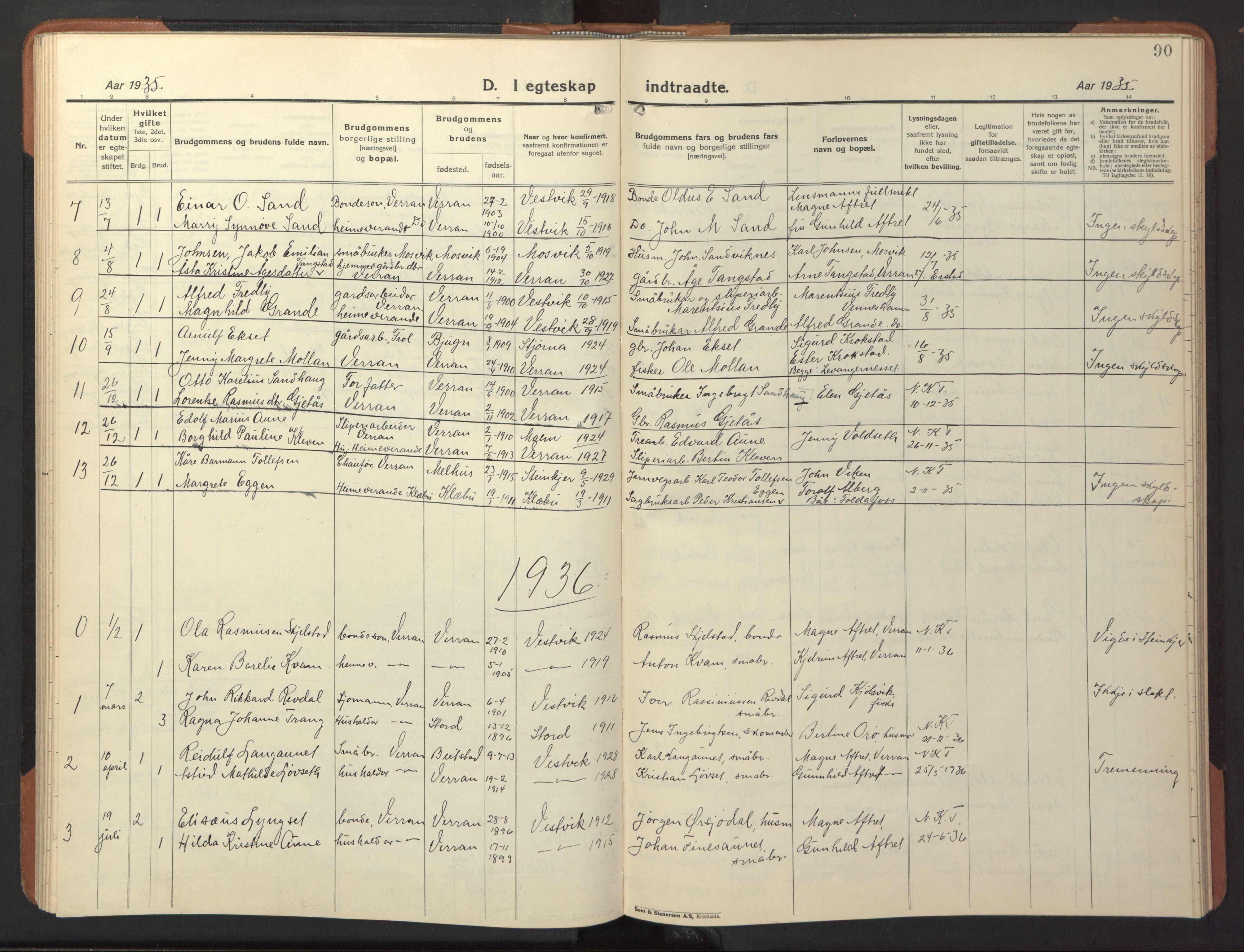SAT, Ministerialprotokoller, klokkerbøker og fødselsregistre - Nord-Trøndelag, 744/L0425: Klokkerbok nr. 744C04, 1924-1947, s. 90