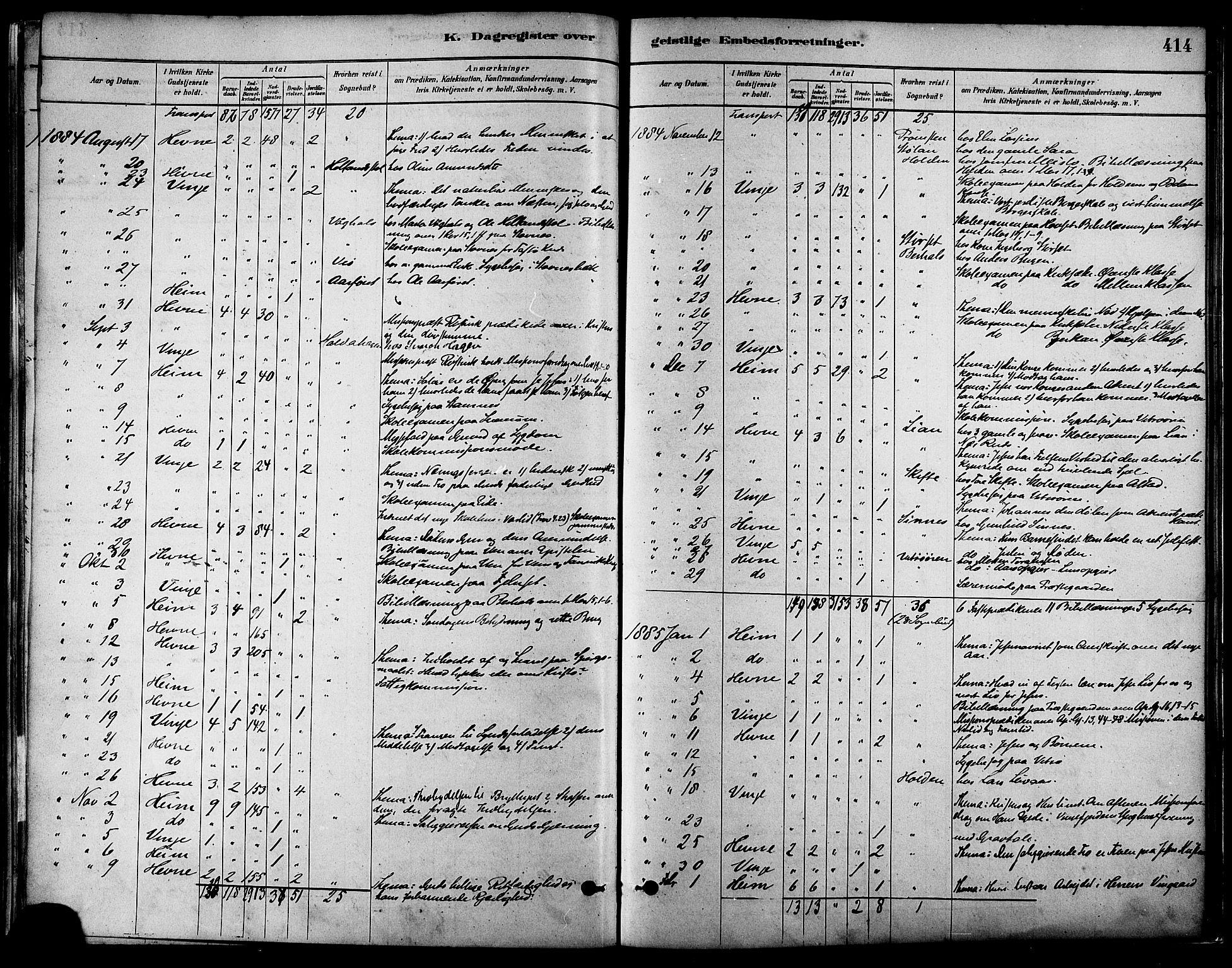 SAT, Ministerialprotokoller, klokkerbøker og fødselsregistre - Sør-Trøndelag, 630/L0496: Ministerialbok nr. 630A09, 1879-1895, s. 414