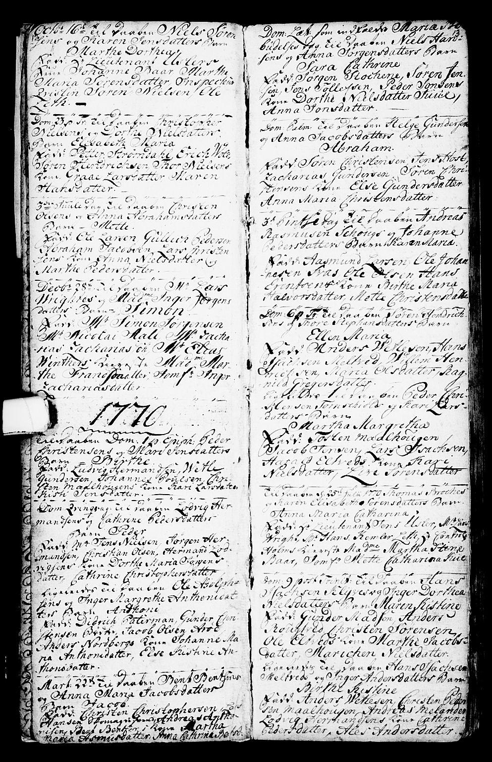 SAKO, Porsgrunn kirkebøker , G/Ga/L0001: Klokkerbok nr. I 1, 1766-1790, s. 12-13