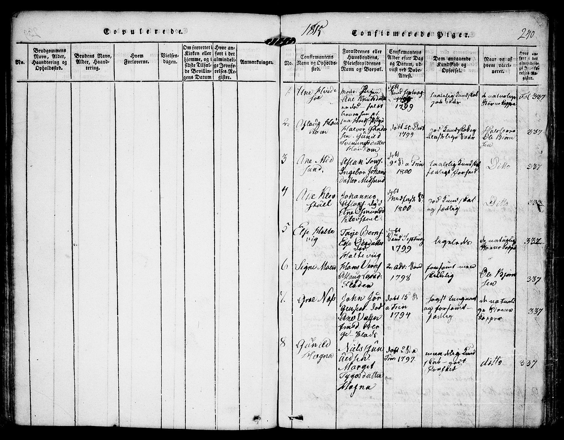 SAKO, Kviteseid kirkebøker, F/Fa/L0005: Ministerialbok nr. I 5, 1815-1836, s. 240