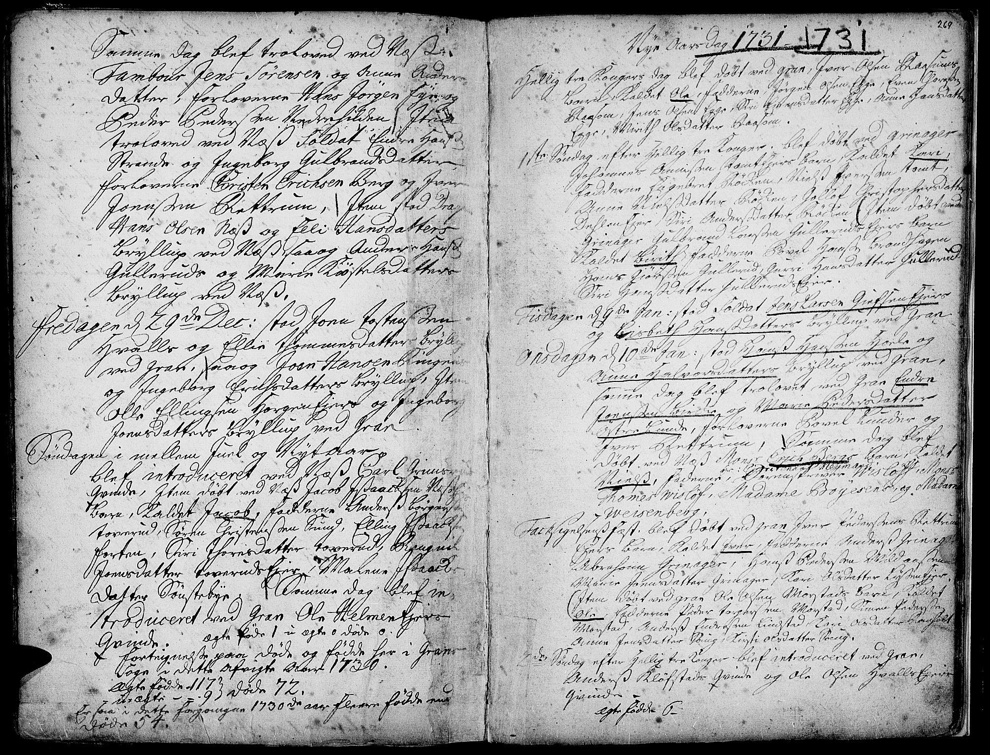 SAH, Gran prestekontor, Ministerialbok nr. 1, 1707-1731, s. 269