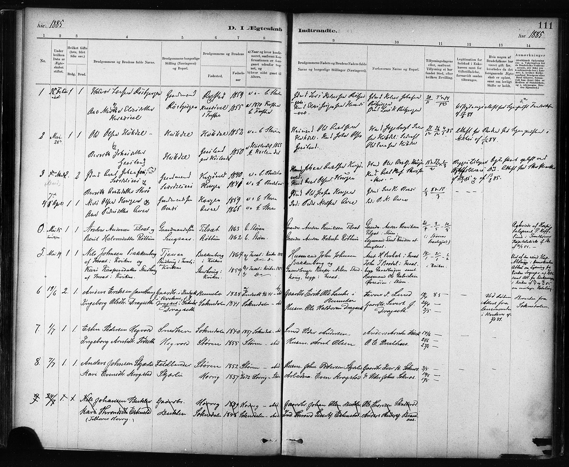 SAT, Ministerialprotokoller, klokkerbøker og fødselsregistre - Sør-Trøndelag, 687/L1002: Ministerialbok nr. 687A08, 1878-1890, s. 111