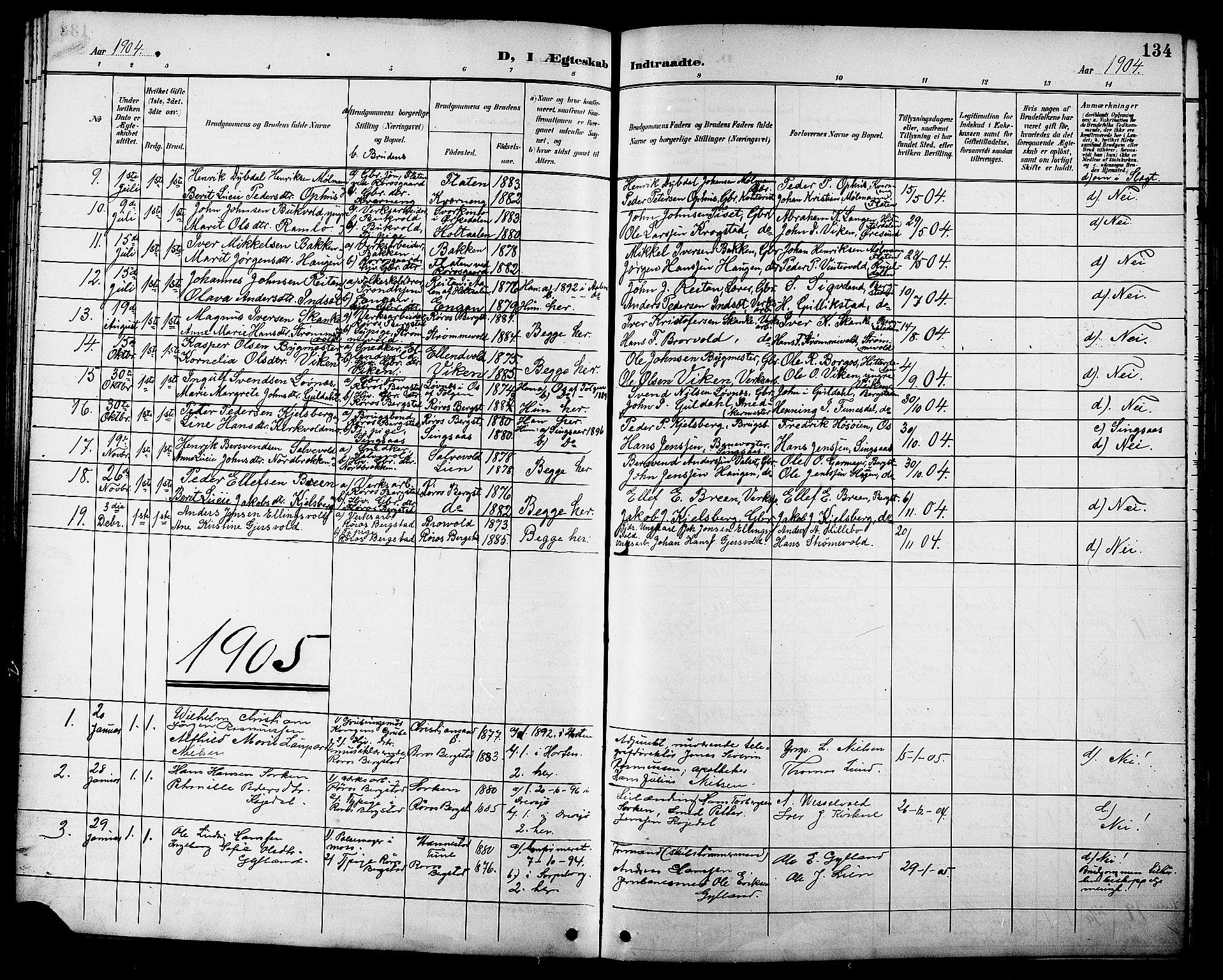 SAT, Ministerialprotokoller, klokkerbøker og fødselsregistre - Sør-Trøndelag, 681/L0941: Klokkerbok nr. 681C05, 1896-1905, s. 134