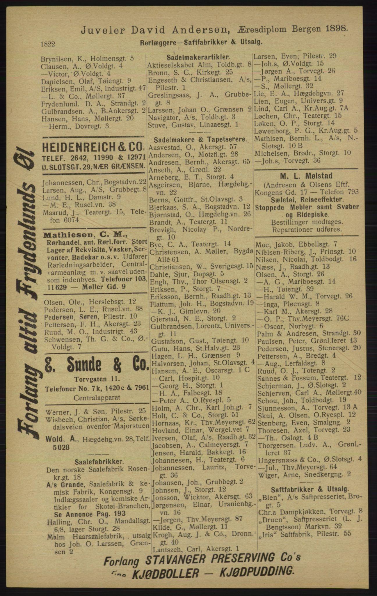 RA, Kristiania adressebok (publikasjon)*, 1913, s. 1822