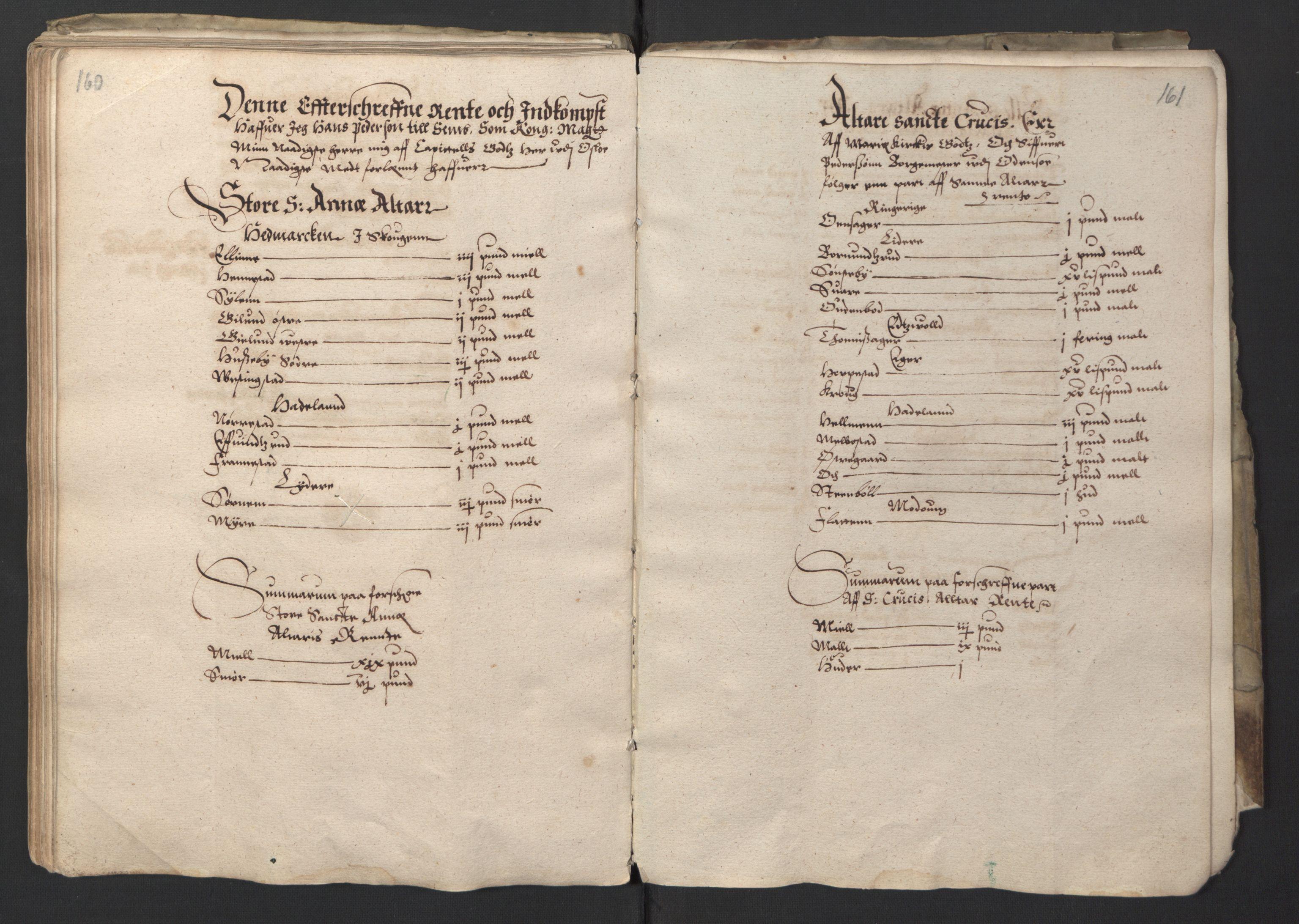RA, Stattholderembetet 1572-1771, Ek/L0001: Jordebøker før 1624 og til utligning av garnisonsskatt 1624-1626:, 1595, s. 160-161