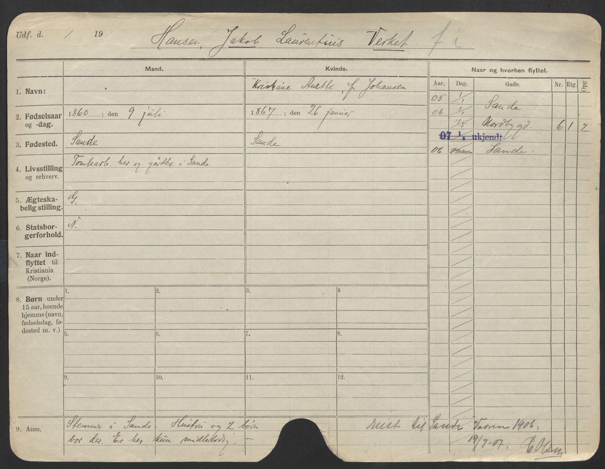 SAO, Oslo folkeregister, Registerkort, F/Fa/Fac/L0011: Menn, 1906-1914, s. 701a