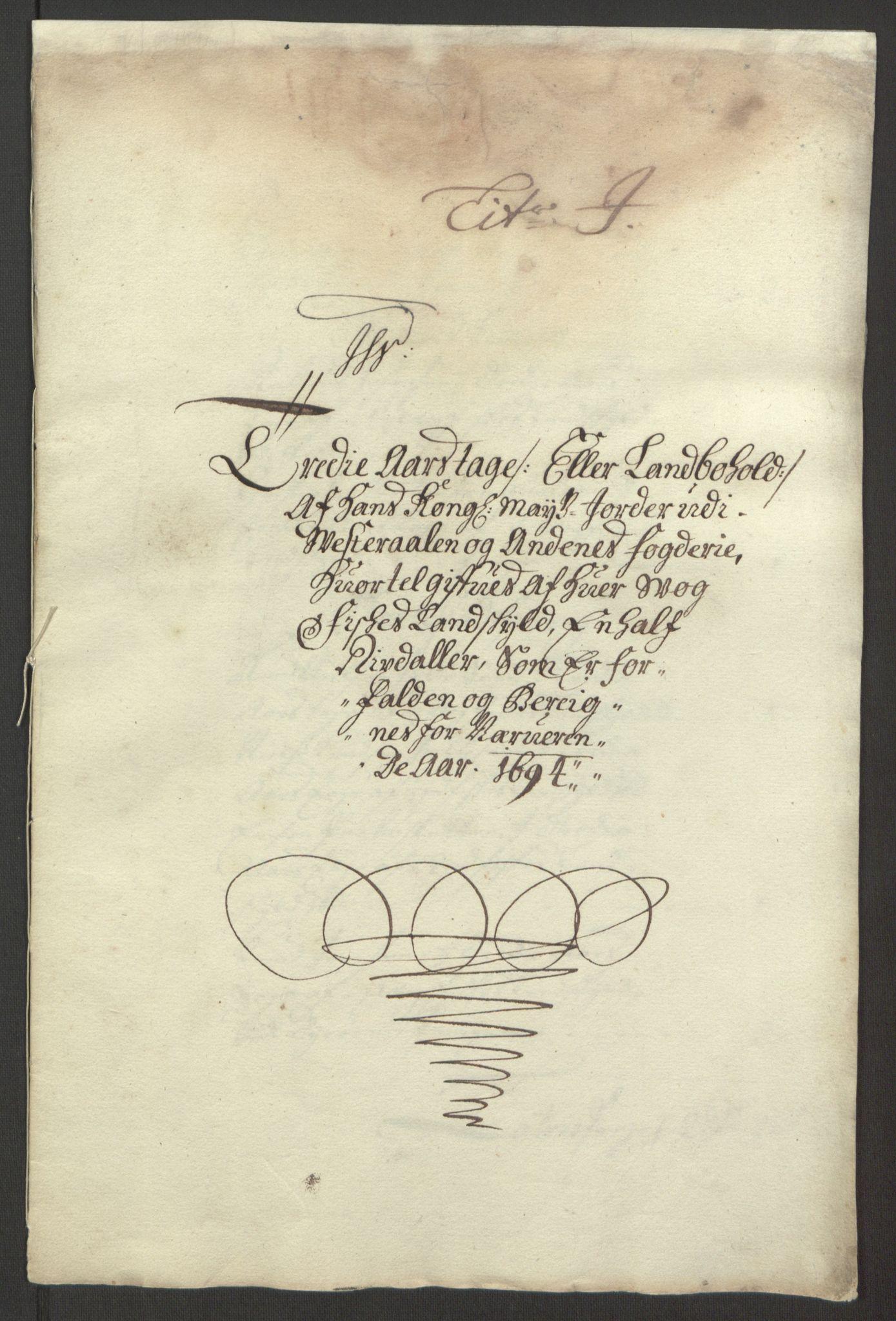 RA, Rentekammeret inntil 1814, Reviderte regnskaper, Fogderegnskap, R67/L4677: Fogderegnskap Vesterålen, Andenes og Lofoten, 1694-1695, s. 136