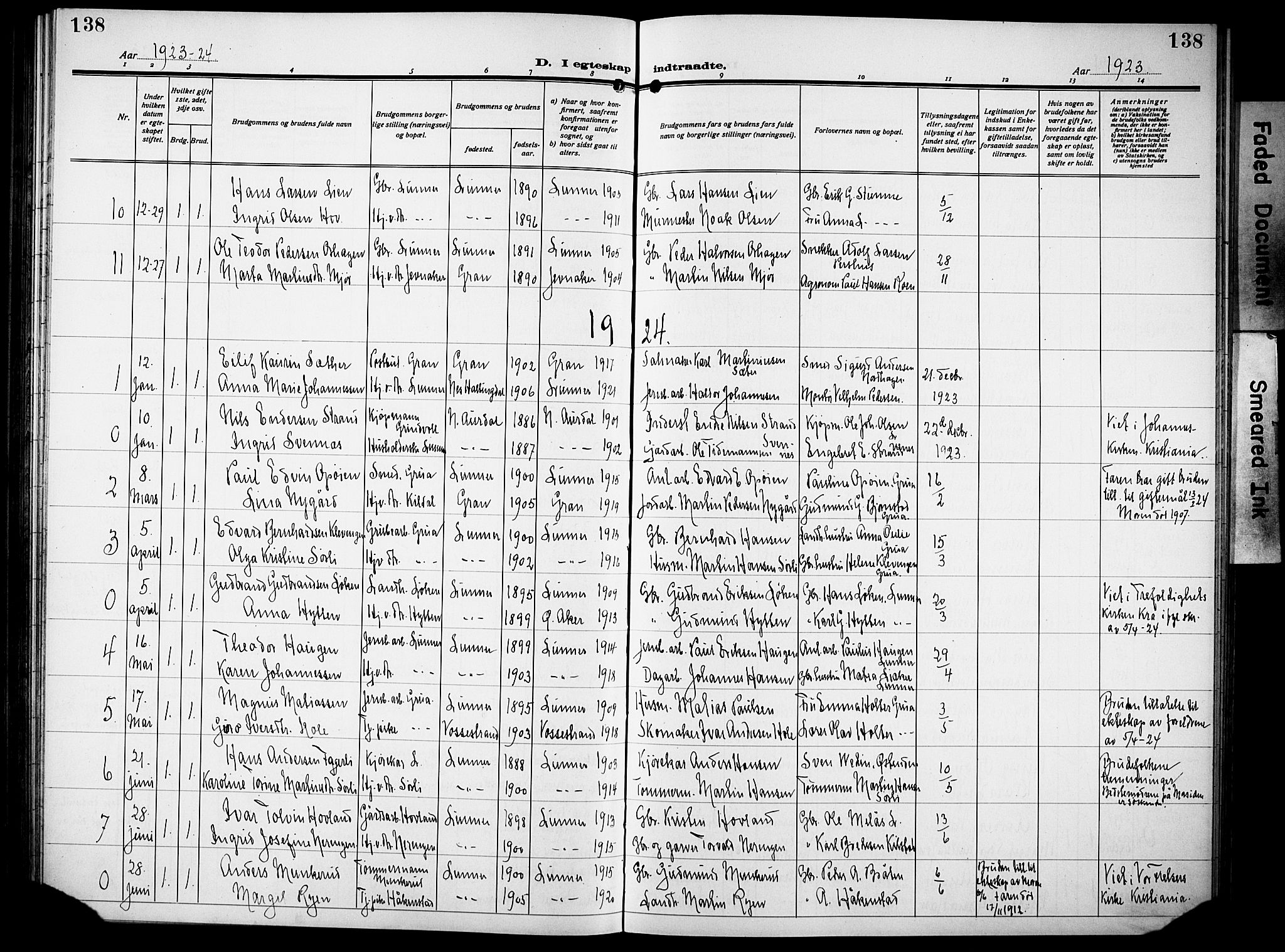 SAH, Lunner prestekontor, H/Ha/Hab/L0002: Klokkerbok nr. 2, 1923-1933, s. 138