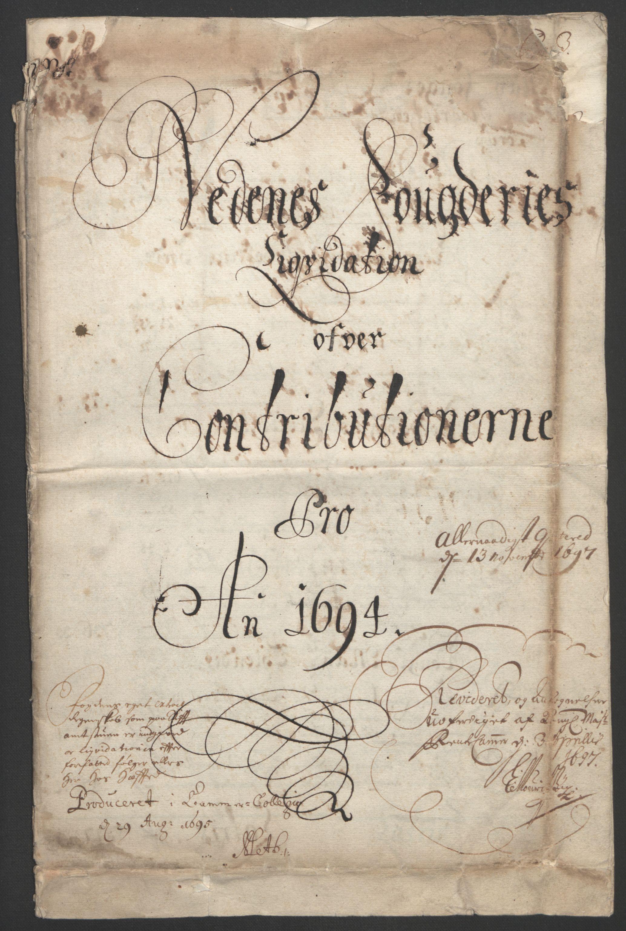 RA, Rentekammeret inntil 1814, Reviderte regnskaper, Fogderegnskap, R39/L2312: Fogderegnskap Nedenes, 1693-1695, s. 111