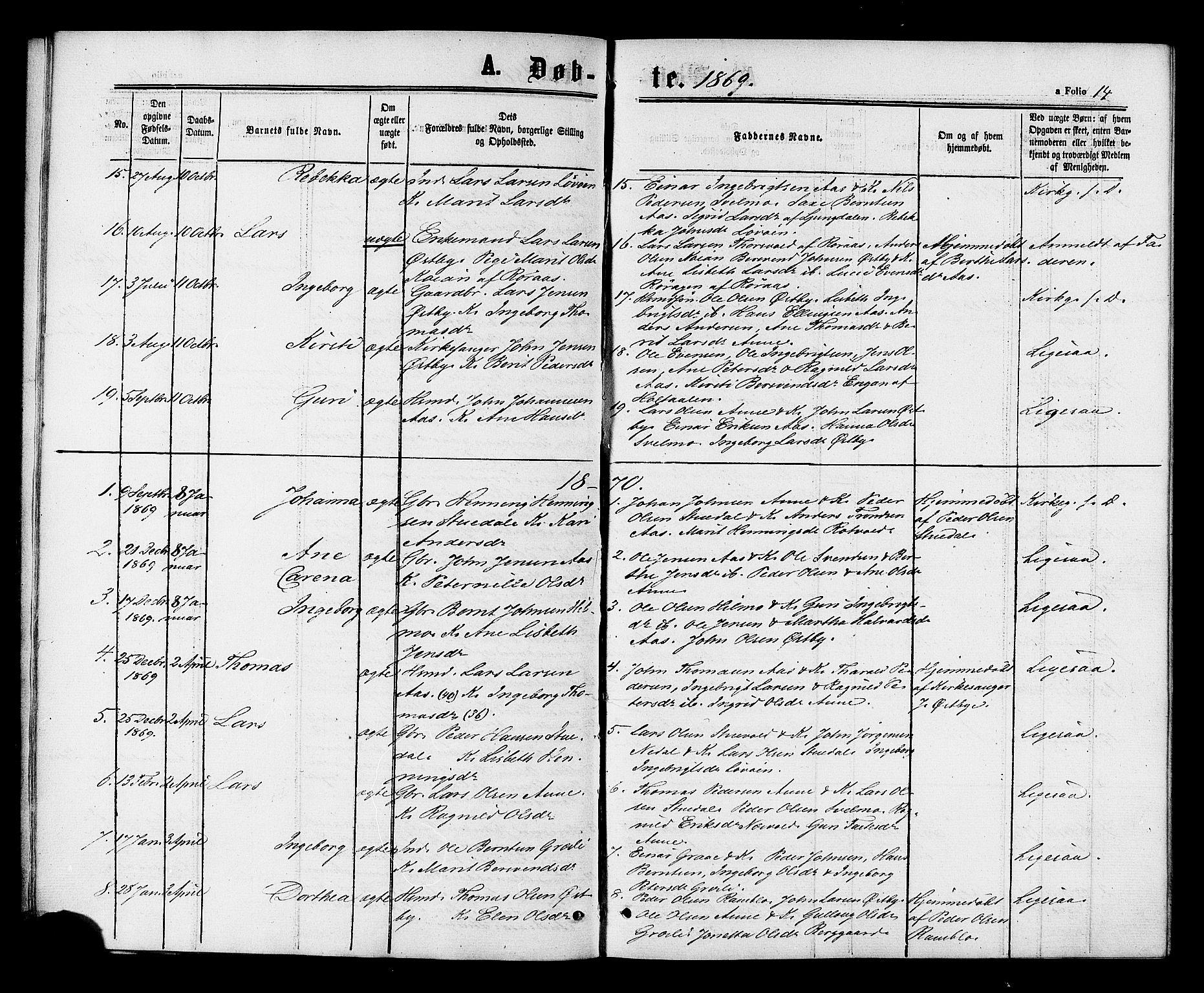 SAT, Ministerialprotokoller, klokkerbøker og fødselsregistre - Sør-Trøndelag, 698/L1163: Ministerialbok nr. 698A01, 1862-1887, s. 14