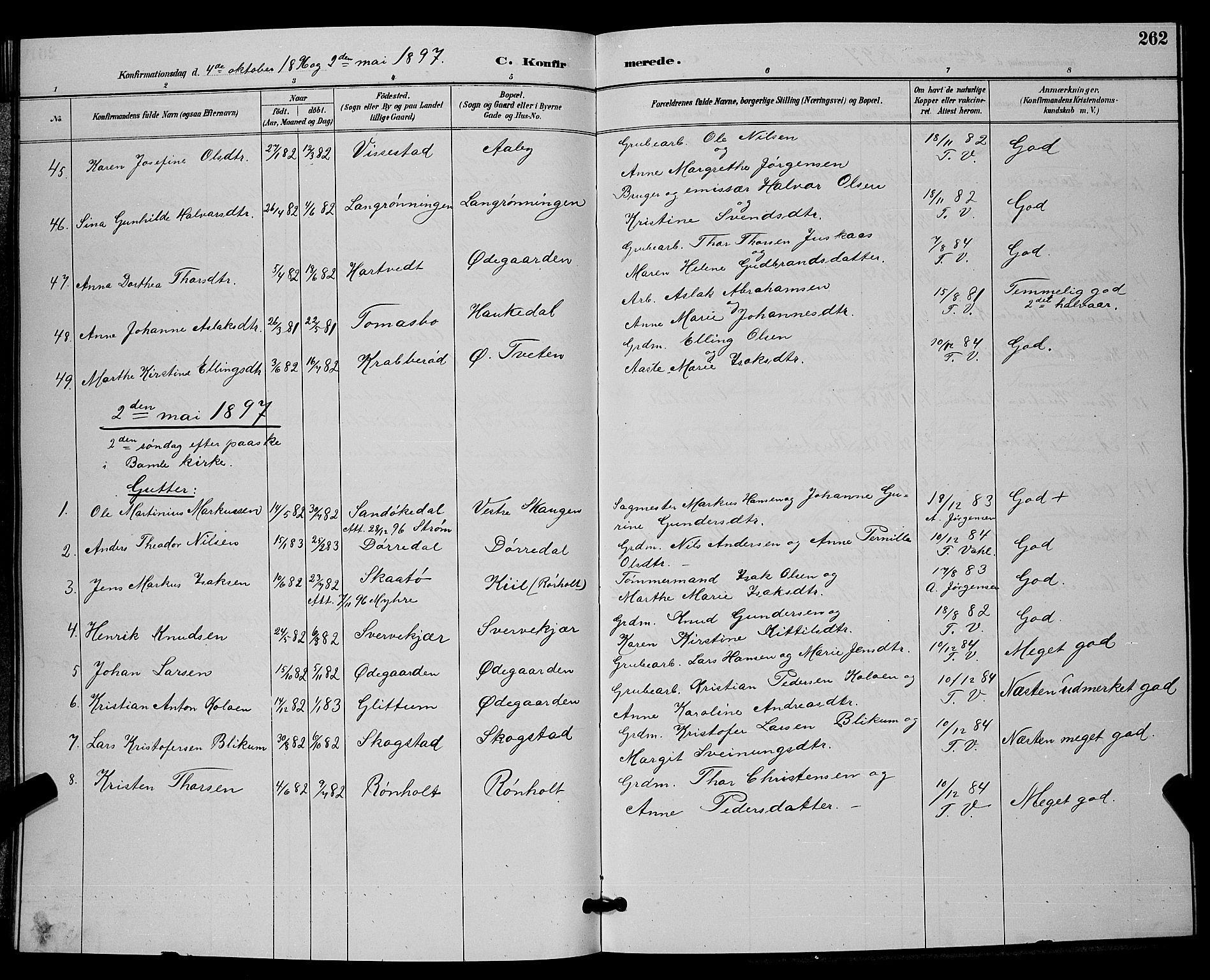 SAKO, Bamble kirkebøker, G/Ga/L0009: Klokkerbok nr. I 9, 1888-1900, s. 262