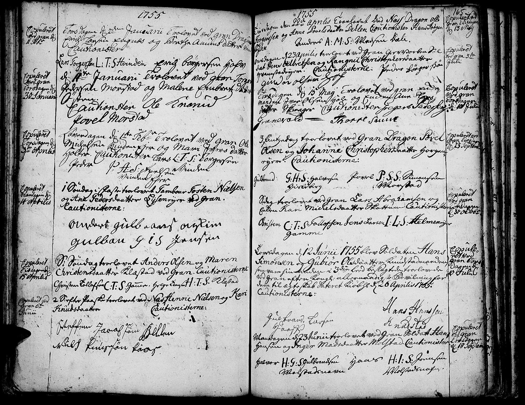 SAH, Gran prestekontor, Ministerialbok nr. 3, 1745-1758, s. 165