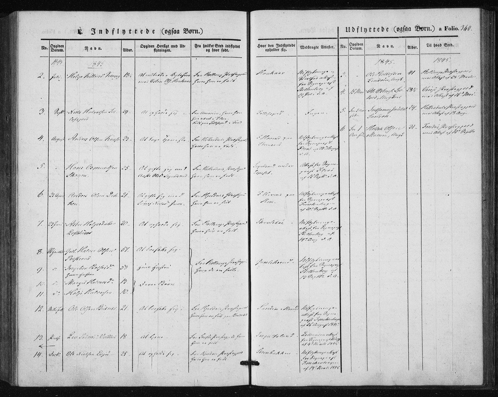 SAKO, Tinn kirkebøker, F/Fa/L0005: Ministerialbok nr. I 5, 1844-1856, s. 360
