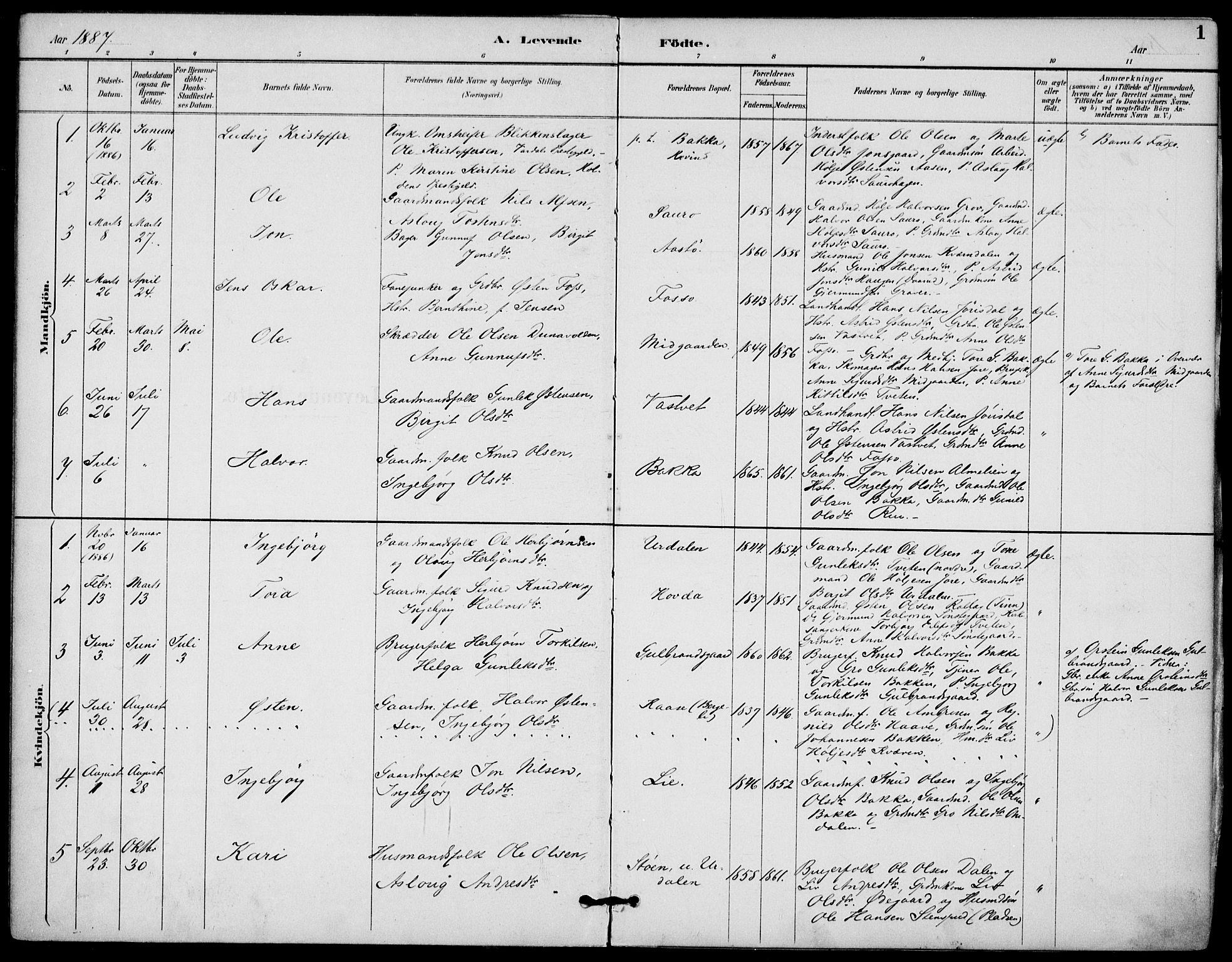 SAKO, Gransherad kirkebøker, F/Fb/L0005: Ministerialbok nr. II 5, 1887-1916, s. 1