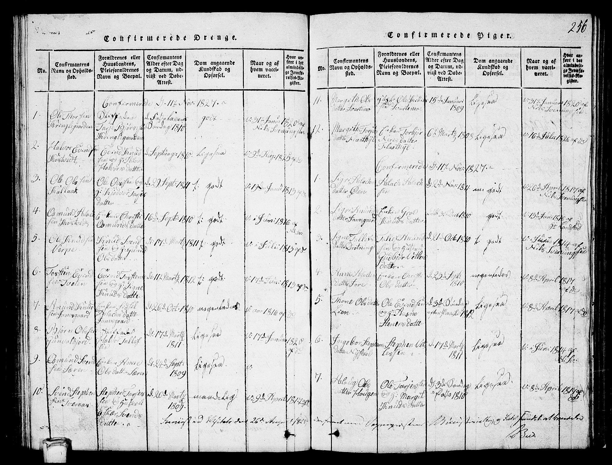 SAKO, Vinje kirkebøker, G/Ga/L0001: Klokkerbok nr. I 1, 1814-1843, s. 256