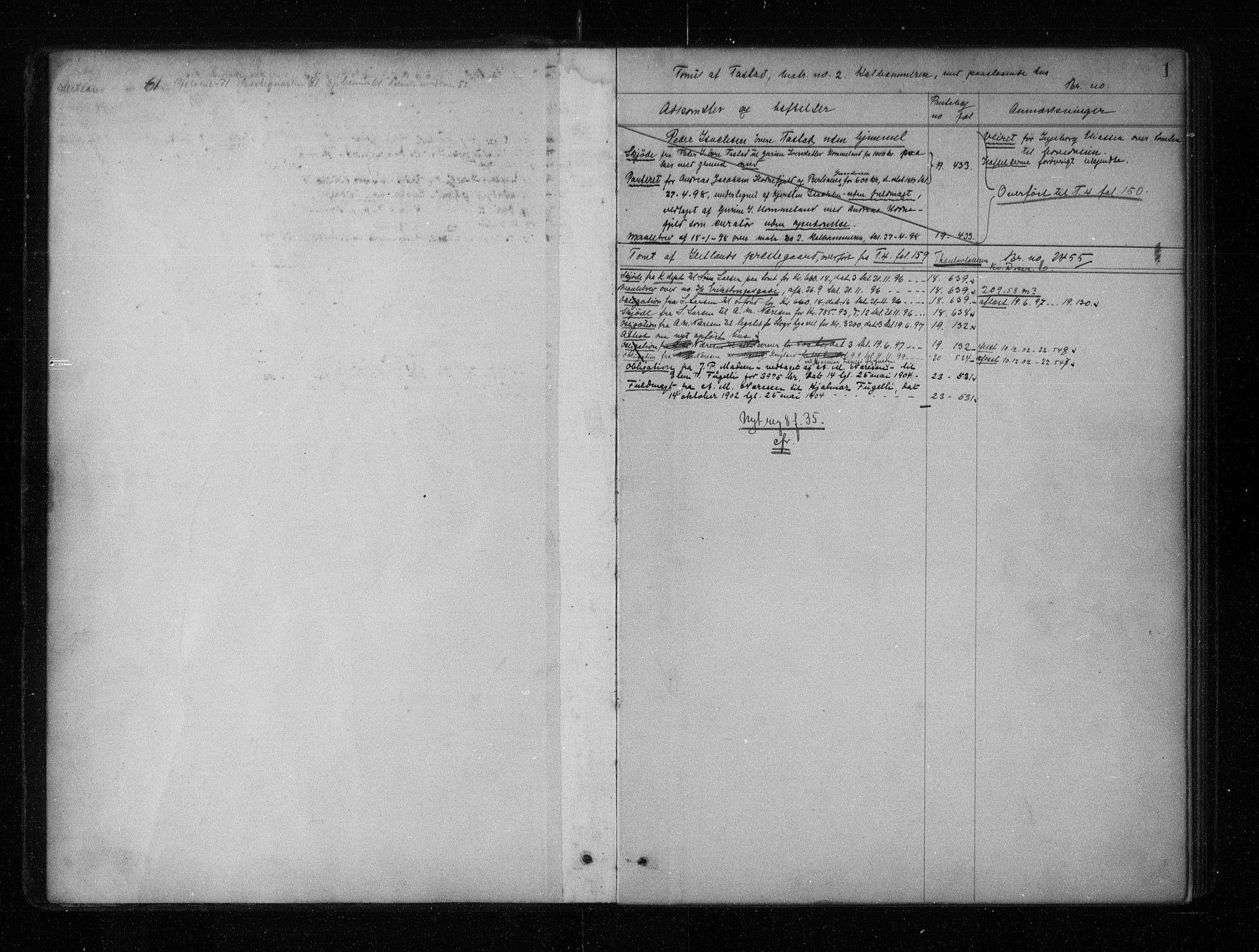 SAST, Stavanger byfogd, 4/41/410/410AC/L0011: Panteregister nr. AC 11, 1898, s. 1