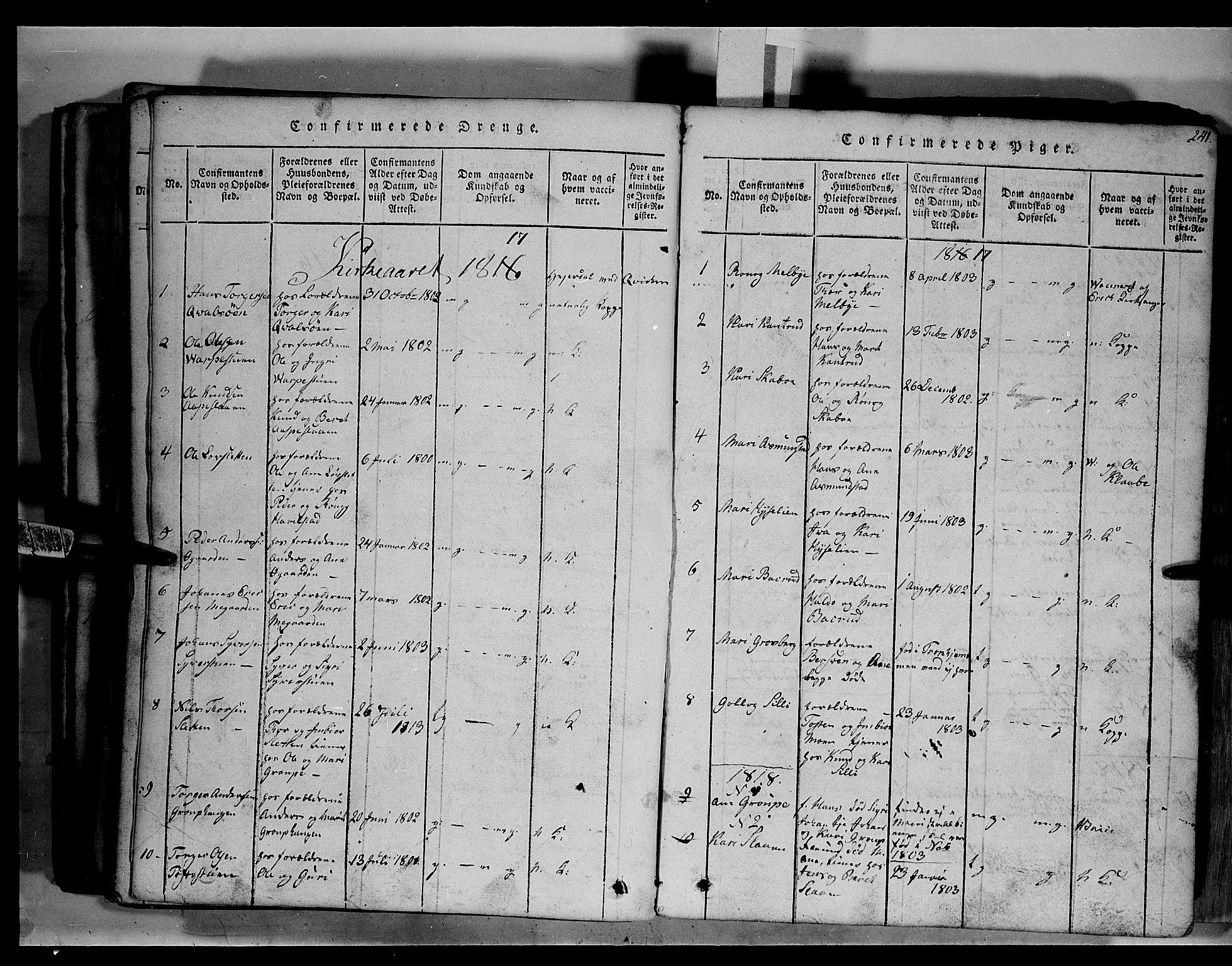 SAH, Fron prestekontor, H/Ha/Hab/L0003: Klokkerbok nr. 3, 1816-1850, s. 241