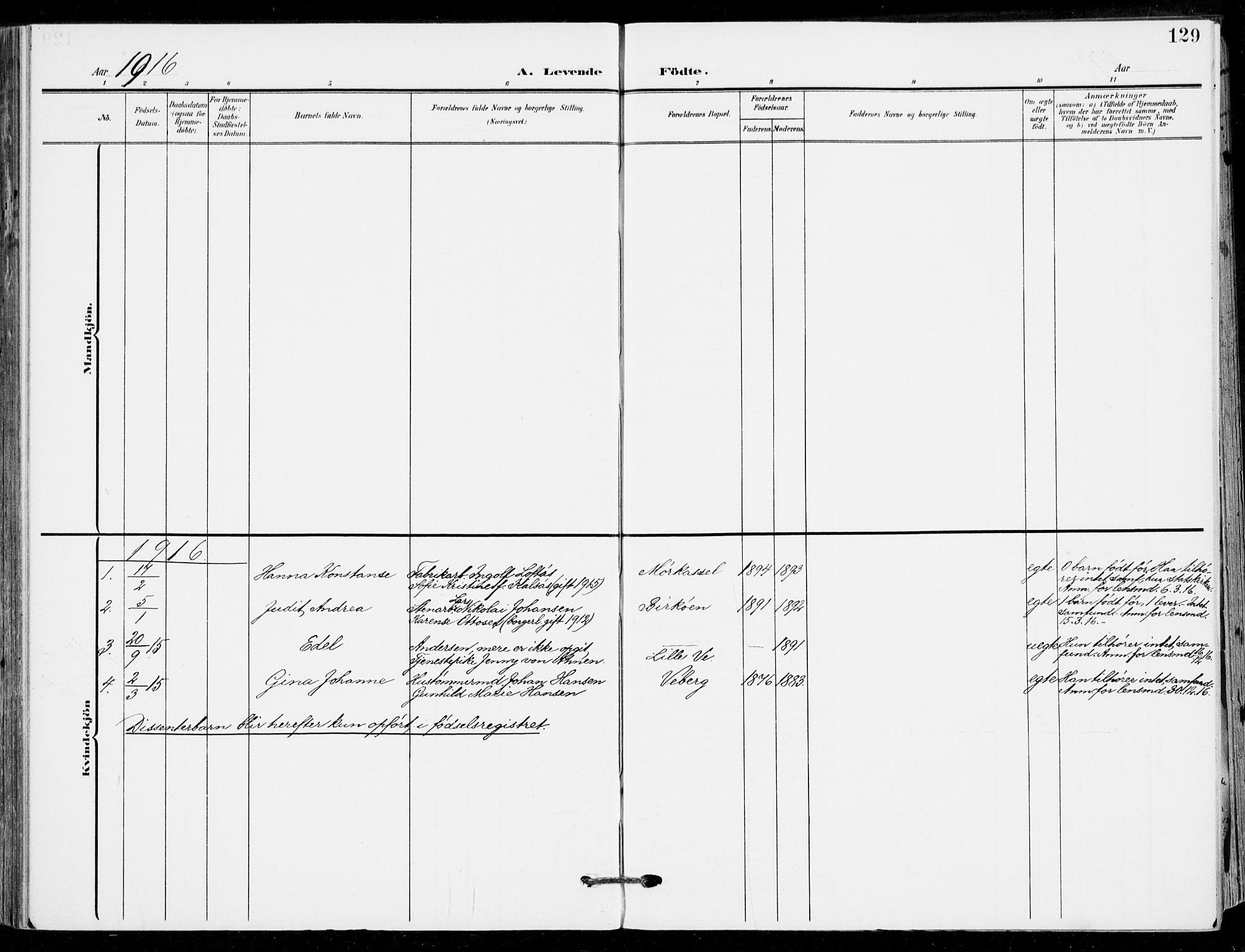 SAKO, Sande Kirkebøker, F/Fa/L0008: Ministerialbok nr. 8, 1904-1921, s. 129