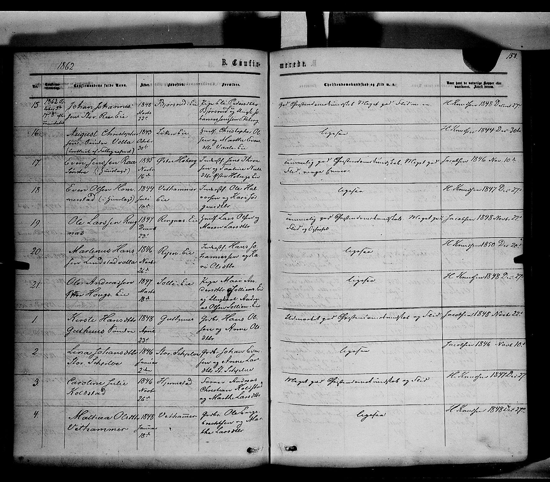 SAH, Stange prestekontor, K/L0013: Ministerialbok nr. 13, 1862-1879, s. 158