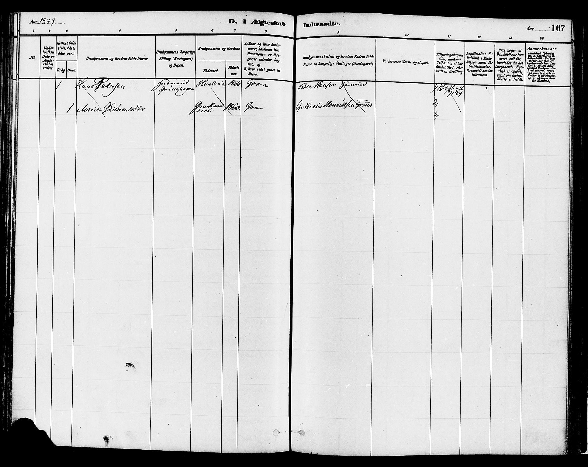SAH, Gran prestekontor, Ministerialbok nr. 14, 1880-1889, s. 167