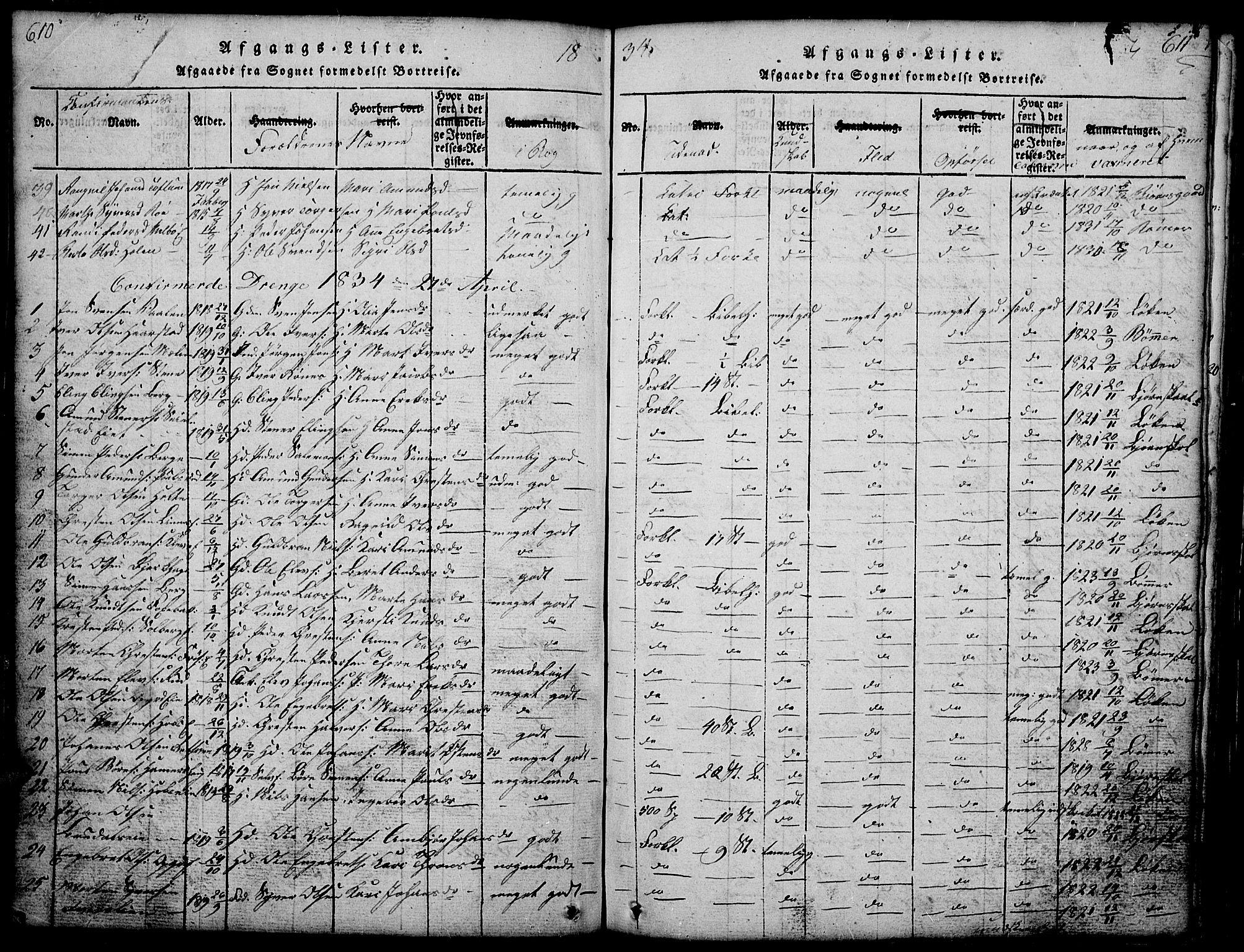 SAH, Gausdal prestekontor, Klokkerbok nr. 1, 1817-1848, s. 610-611