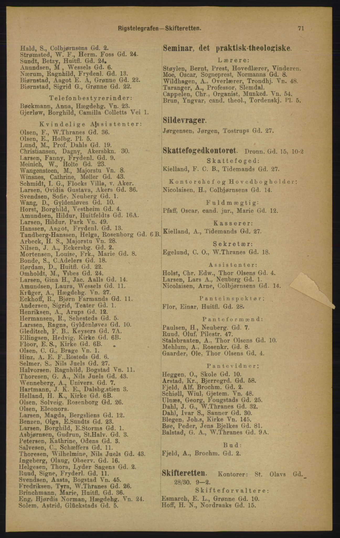 RA, Kristiania adressebok (publikasjon)*, 1906, s. 71