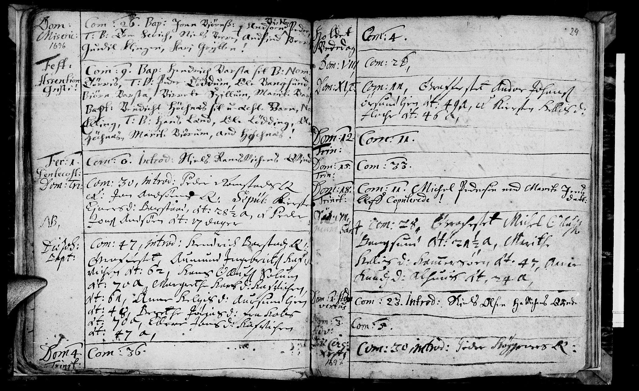 SAT, Ministerialprotokoller, klokkerbøker og fødselsregistre - Nord-Trøndelag, 770/L0587: Ministerialbok nr. 770A01, 1689-1697, s. 28-29