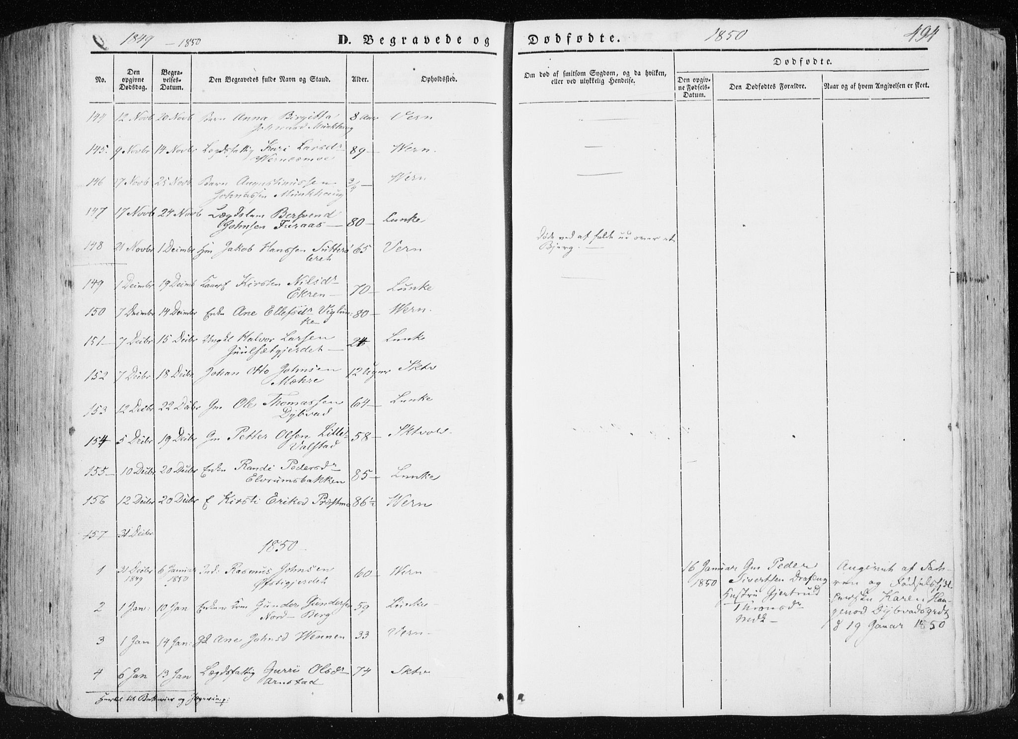 SAT, Ministerialprotokoller, klokkerbøker og fødselsregistre - Nord-Trøndelag, 709/L0074: Ministerialbok nr. 709A14, 1845-1858, s. 494